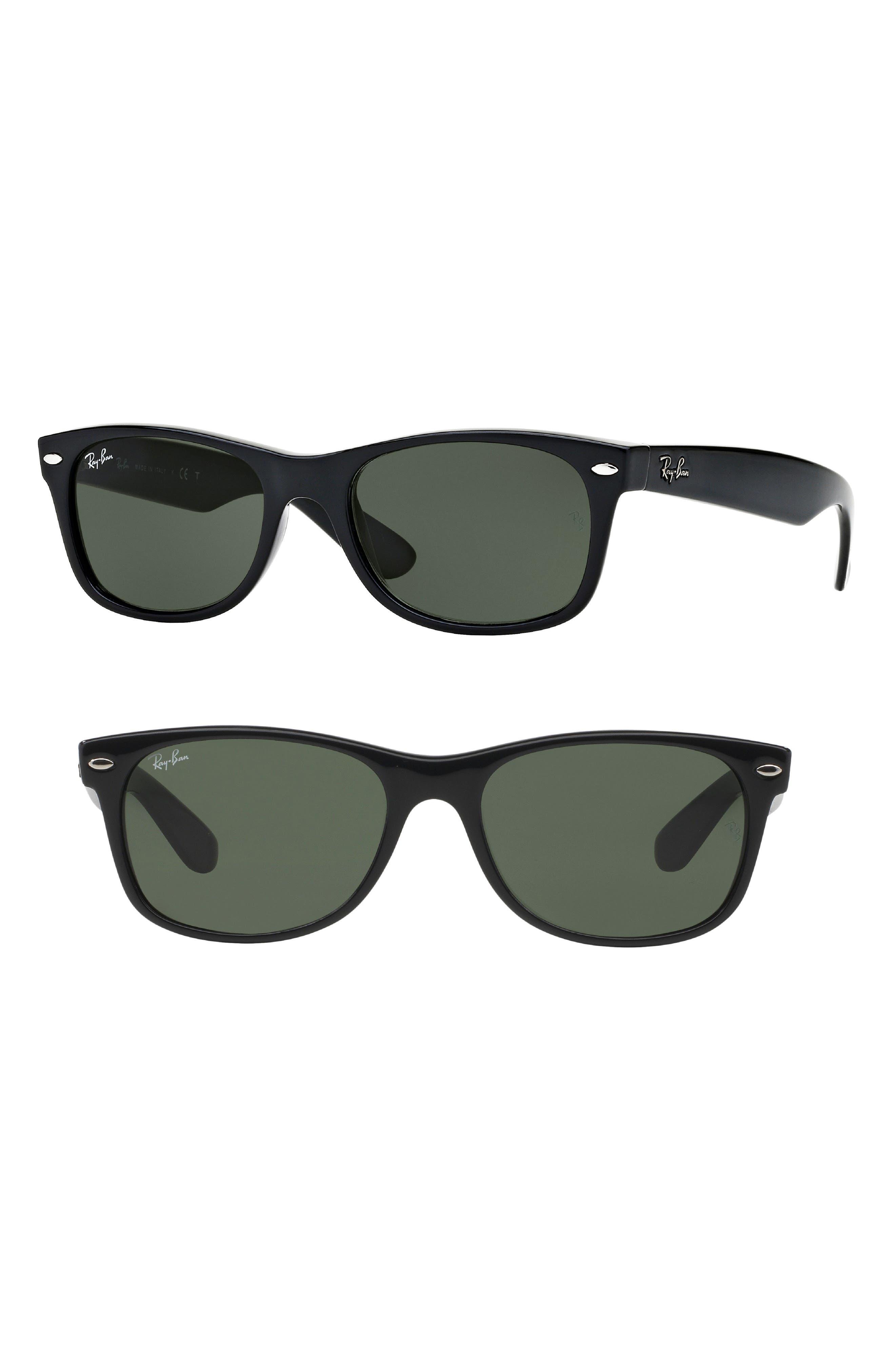 RAY-BAN, Standard New Wayfarer 55mm Sunglasses, Main thumbnail 1, color, BLACK
