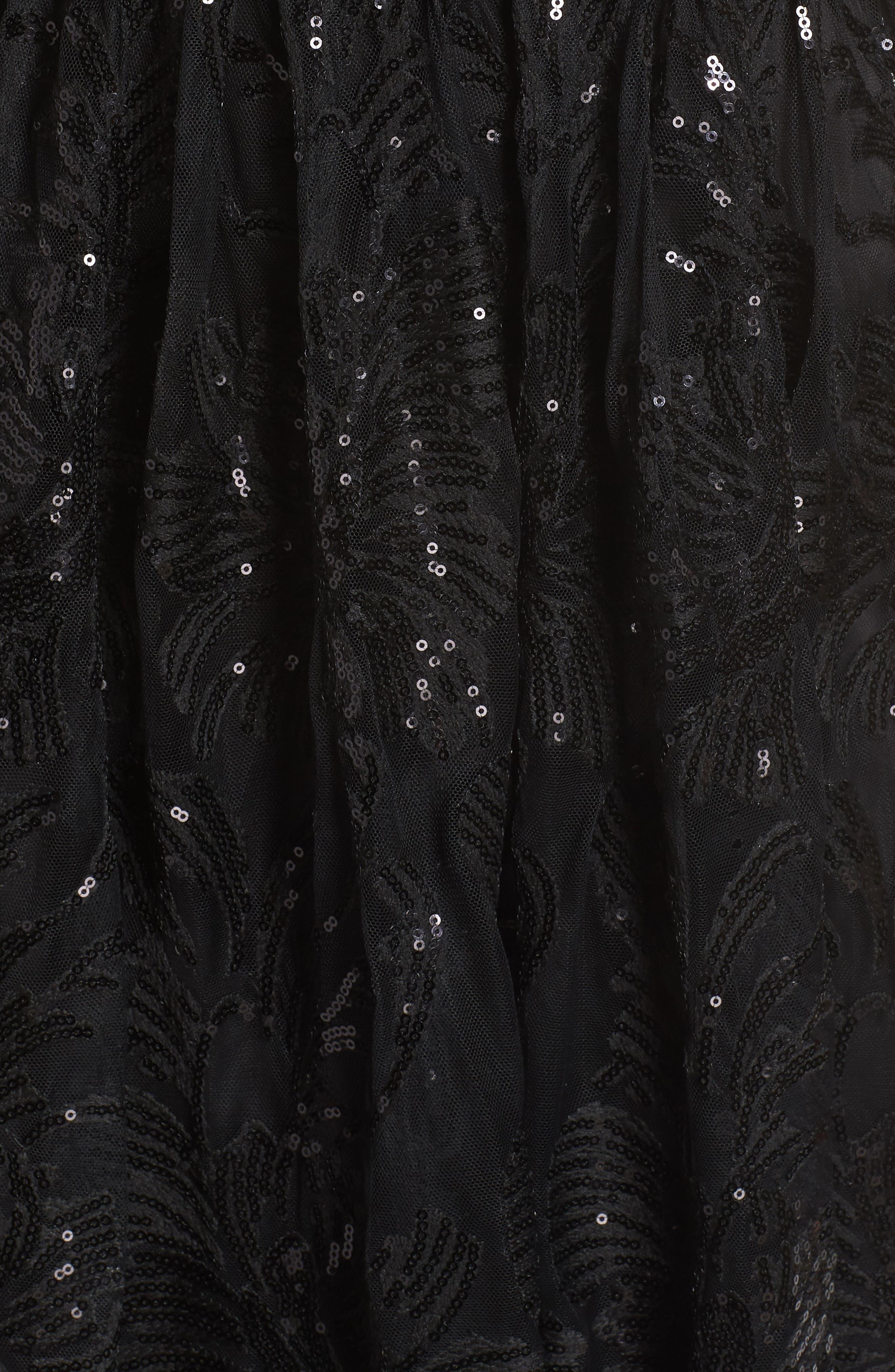 ELIZA J, Sequin Embroidered Mesh Evening Dress, Alternate thumbnail 6, color, BLACK