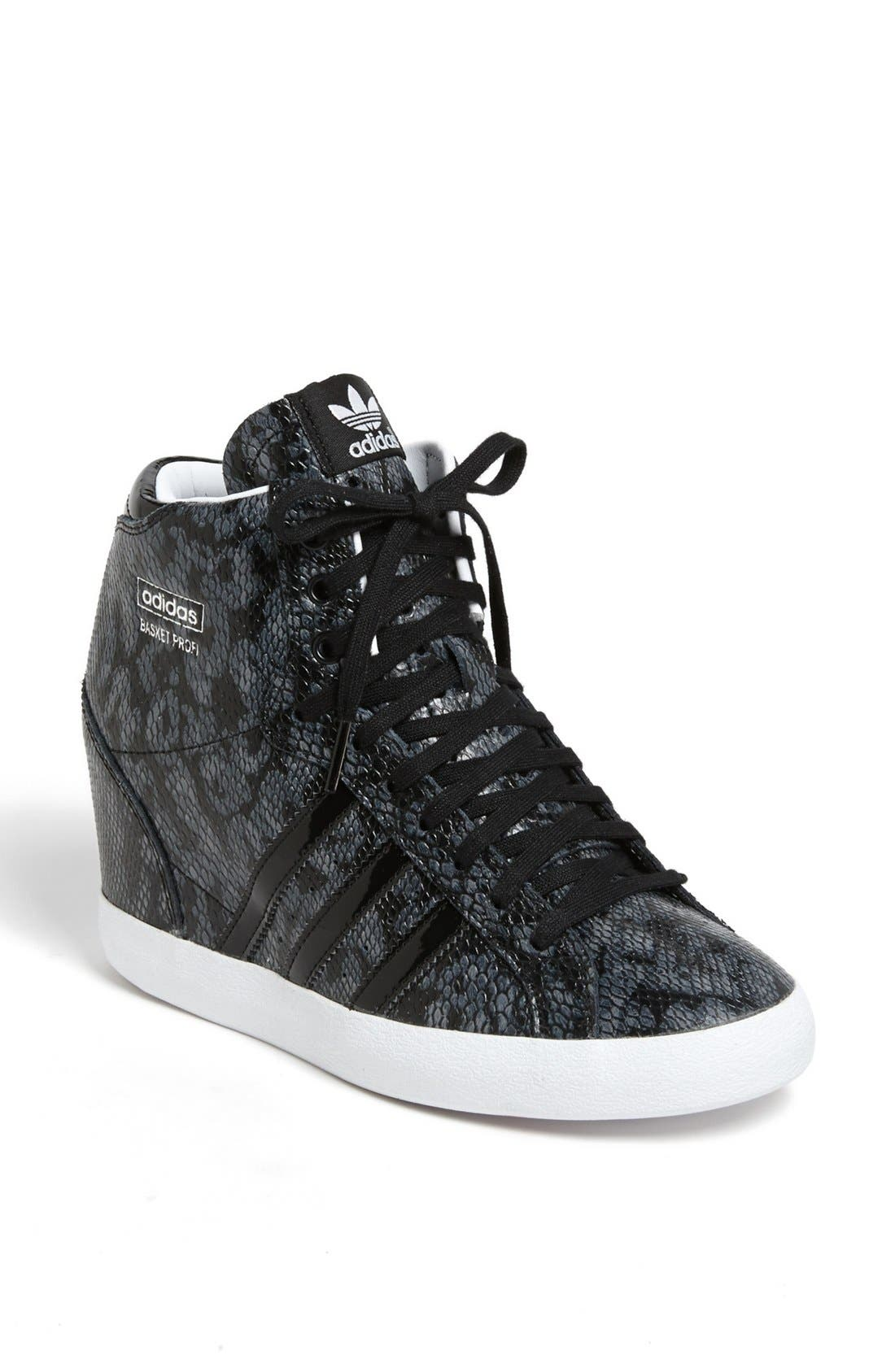 ADIDAS, 'Basket Profi' Hidden Wedge Sneaker, Main thumbnail 1, color, 001