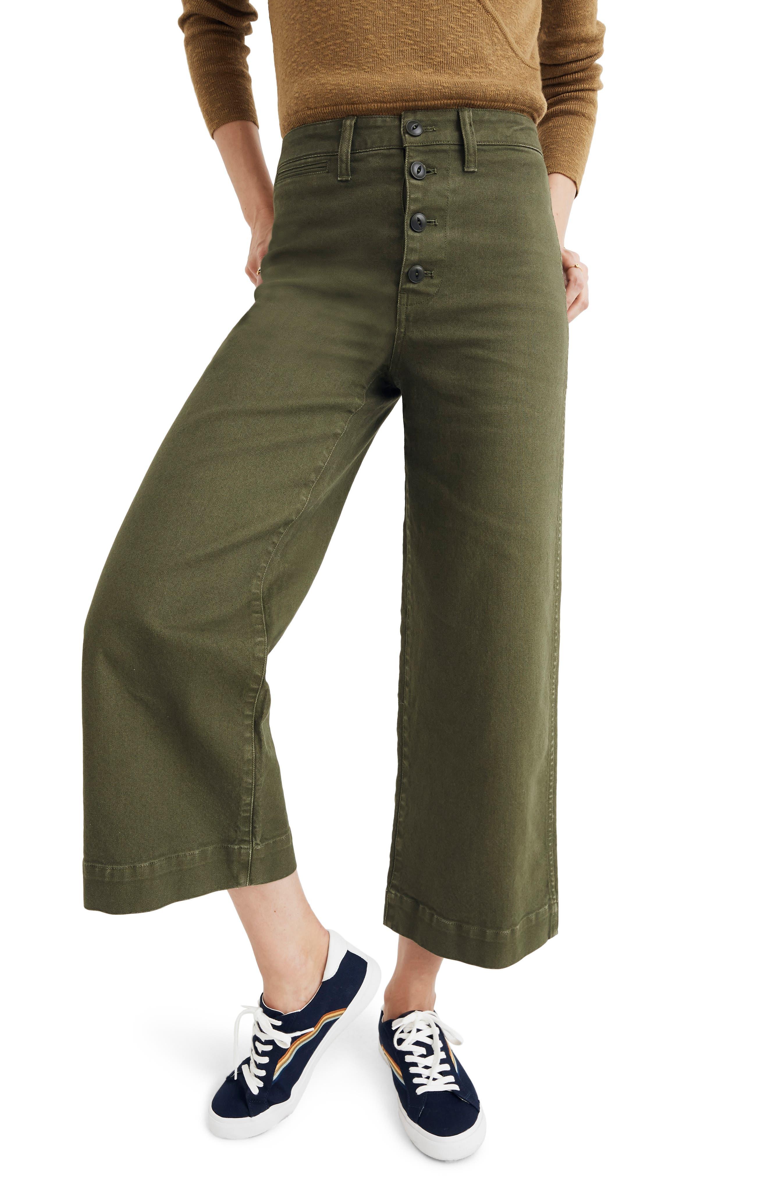 MADEWELL Emmett Crop Wide Leg Pants, Main, color, LODEN