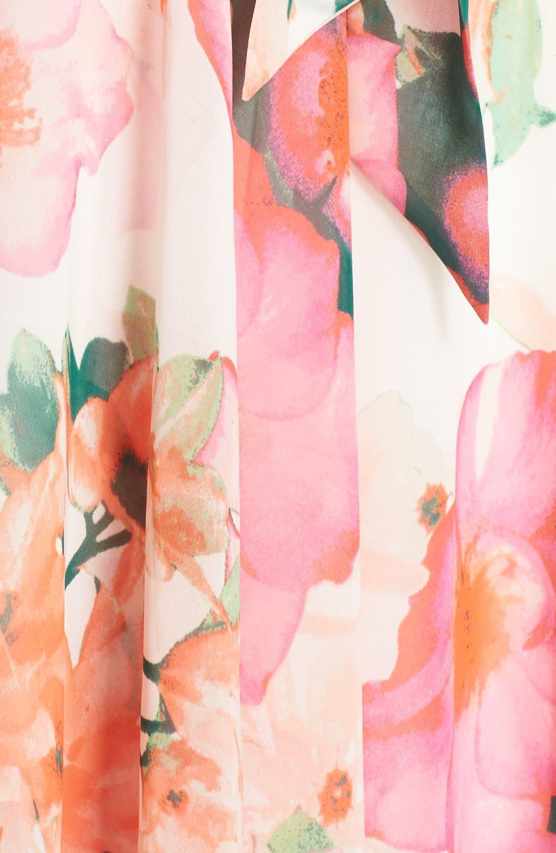 ELIZA J, Floral Print Gown, Alternate thumbnail 3, color, 653
