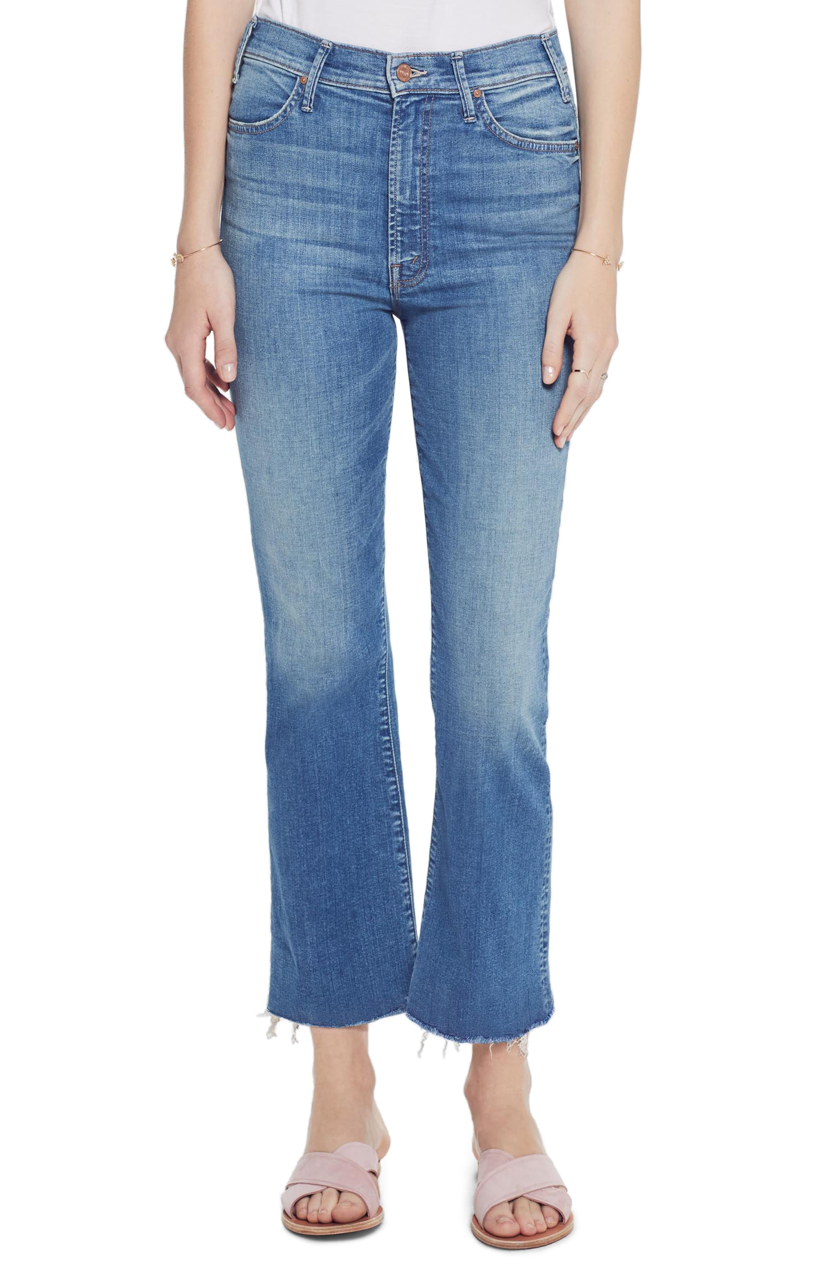 MOTHER, The Hustler High Waist Ankle Flare Jeans, Alternate thumbnail 5, color, WISHFUL DRINKING