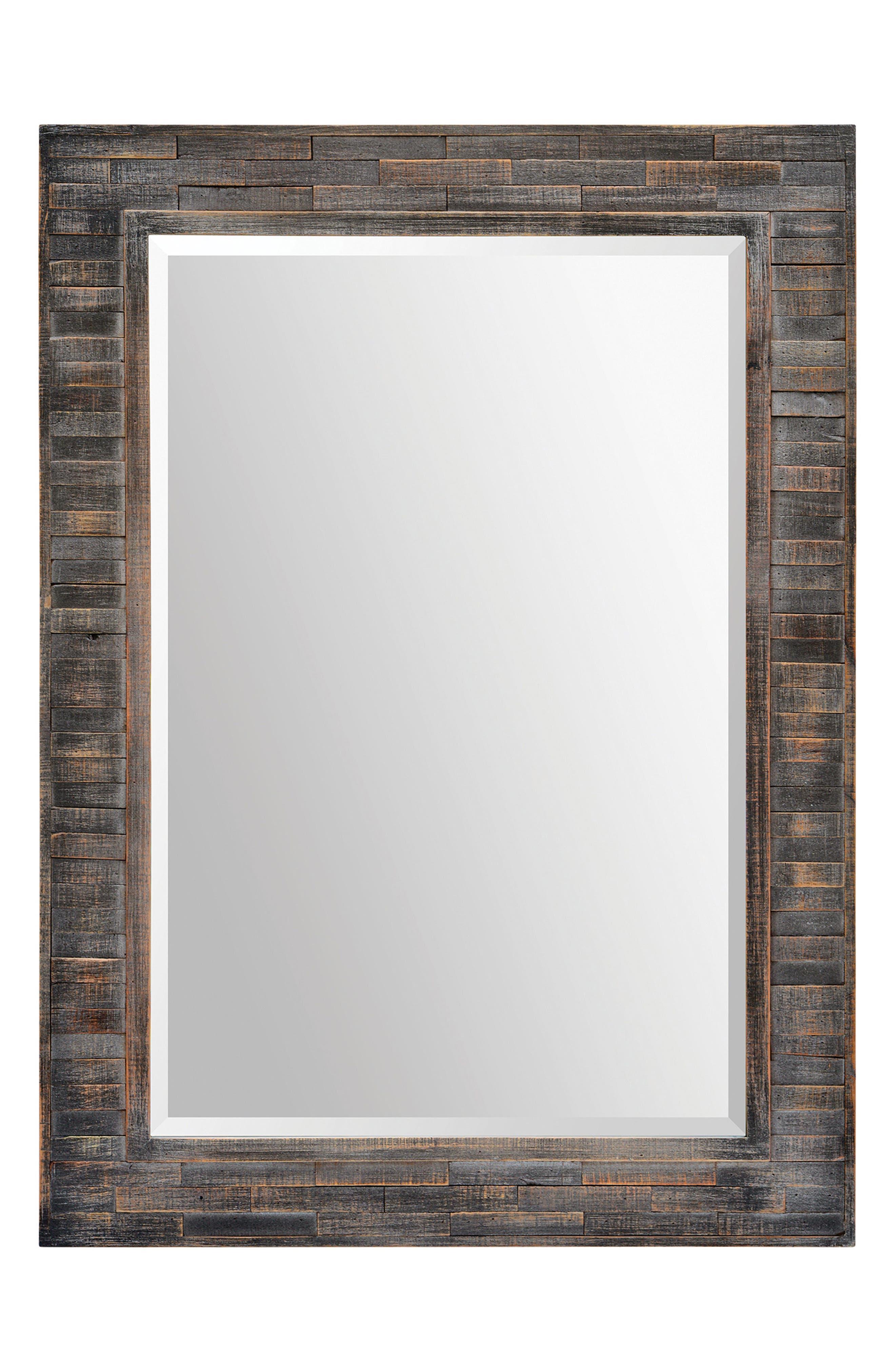 RENWIL Liuhana Wooden Mirror, Main, color, DARK CHARCOAL