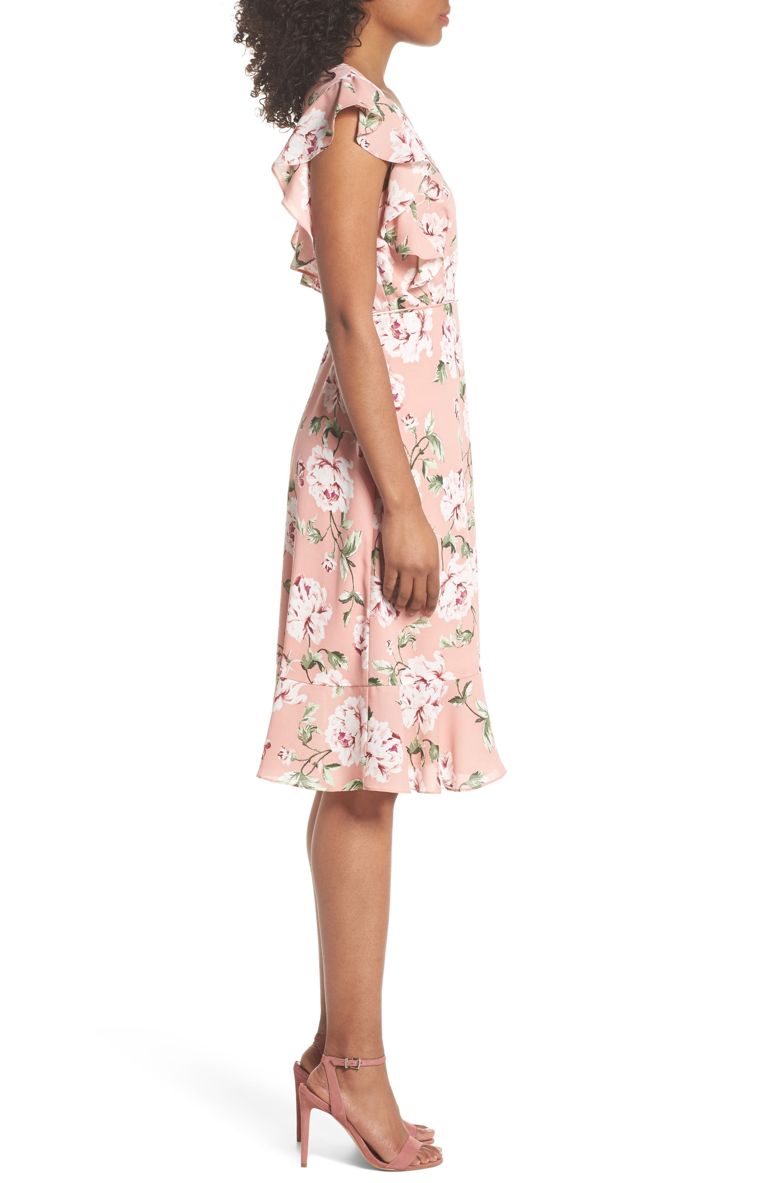 CHARLES HENRY, Ruffle Sleeve Floral Wrap Dress, Alternate thumbnail 4, color, 652