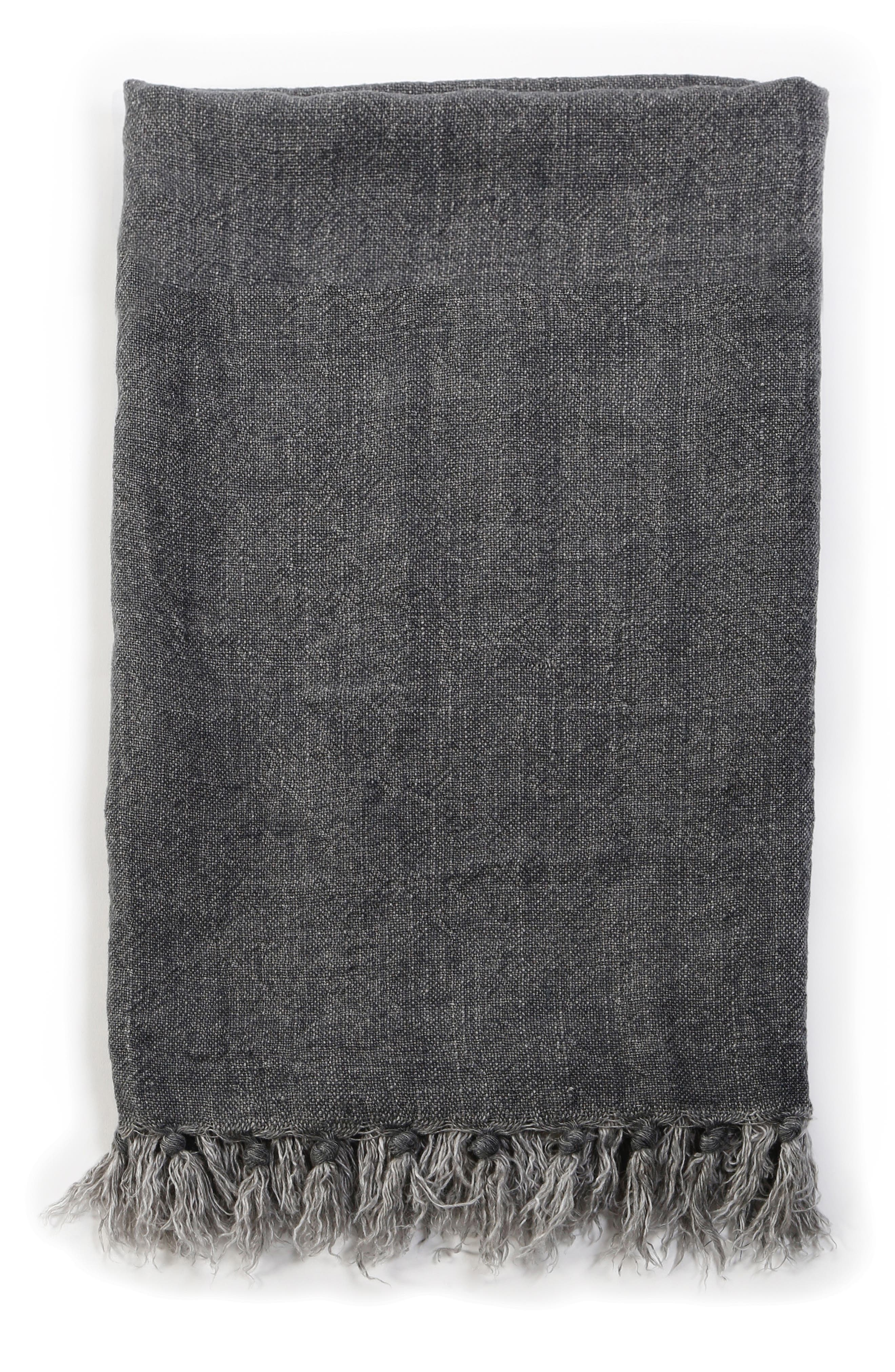 POM POM AT HOME, Montauk Throw Blanket, Main thumbnail 1, color, CHARCOAL