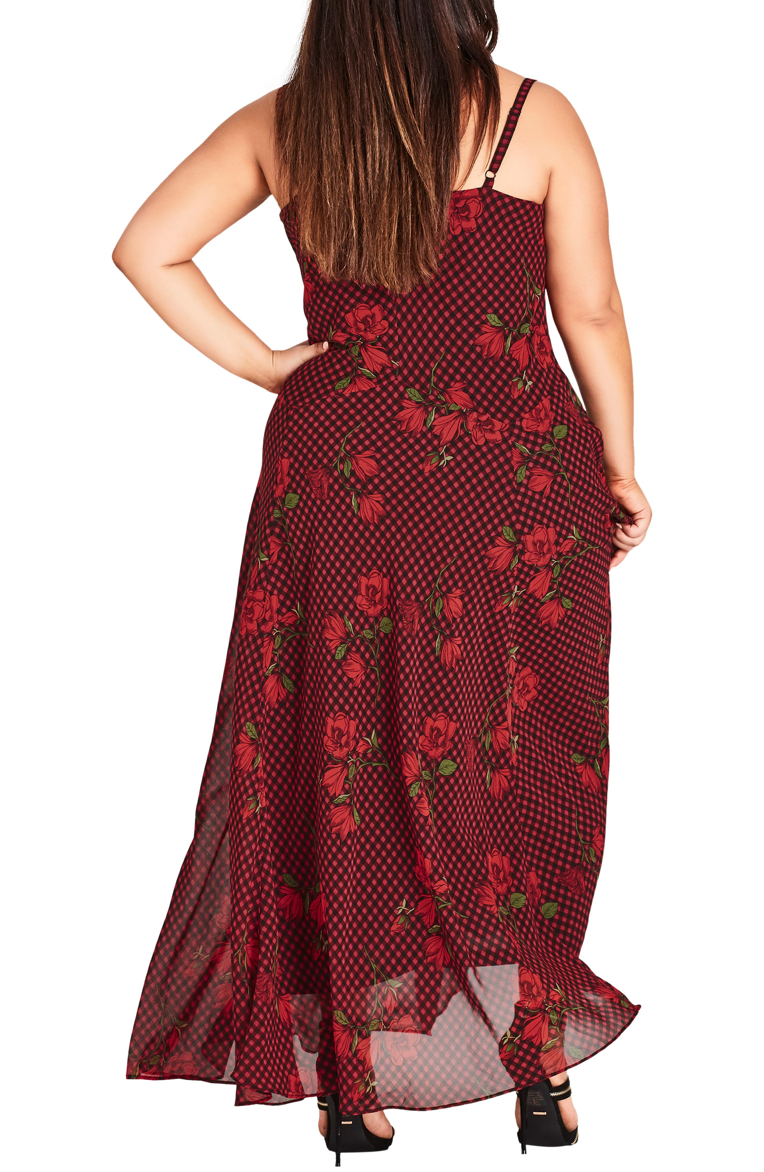 CITY CHIC, Gingham Poppy Maxi Dress, Alternate thumbnail 2, color, 605