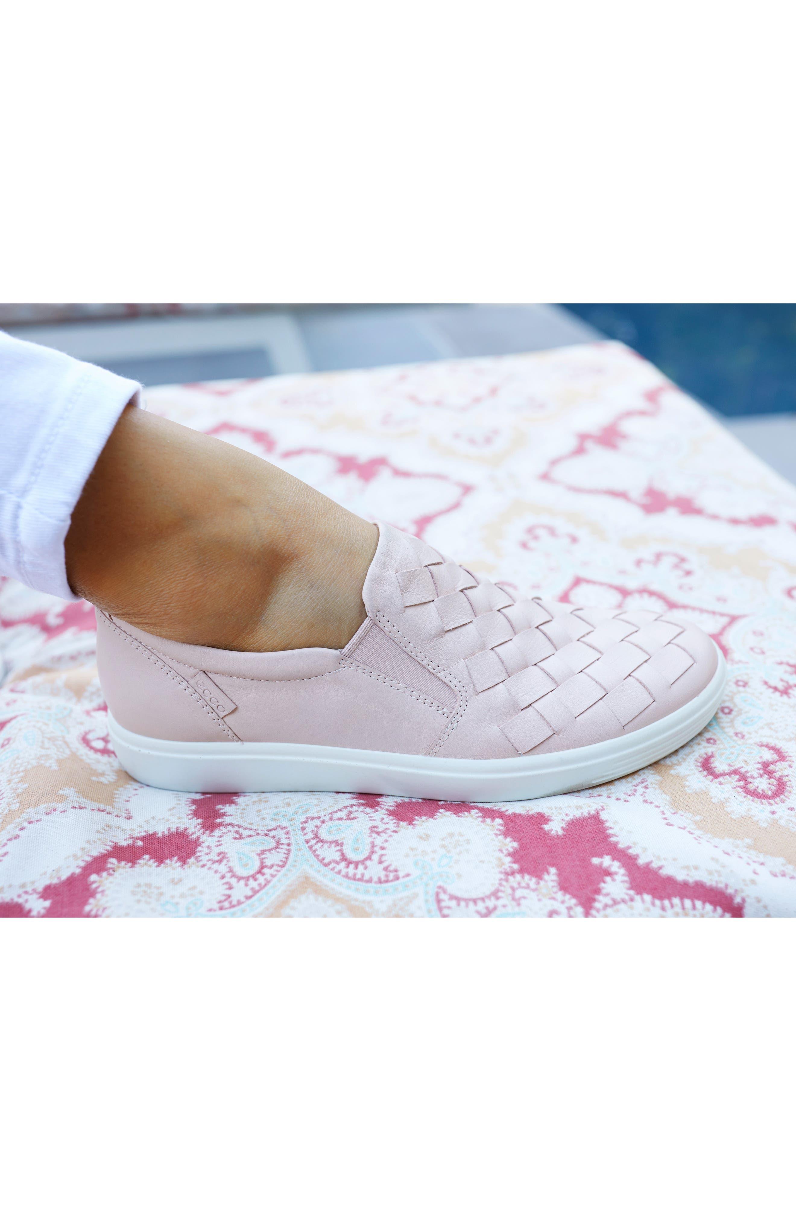 ECCO, Soft 7 Woven Slip-On Sneaker, Alternate thumbnail 7, color, ROSE DUST LEATHER