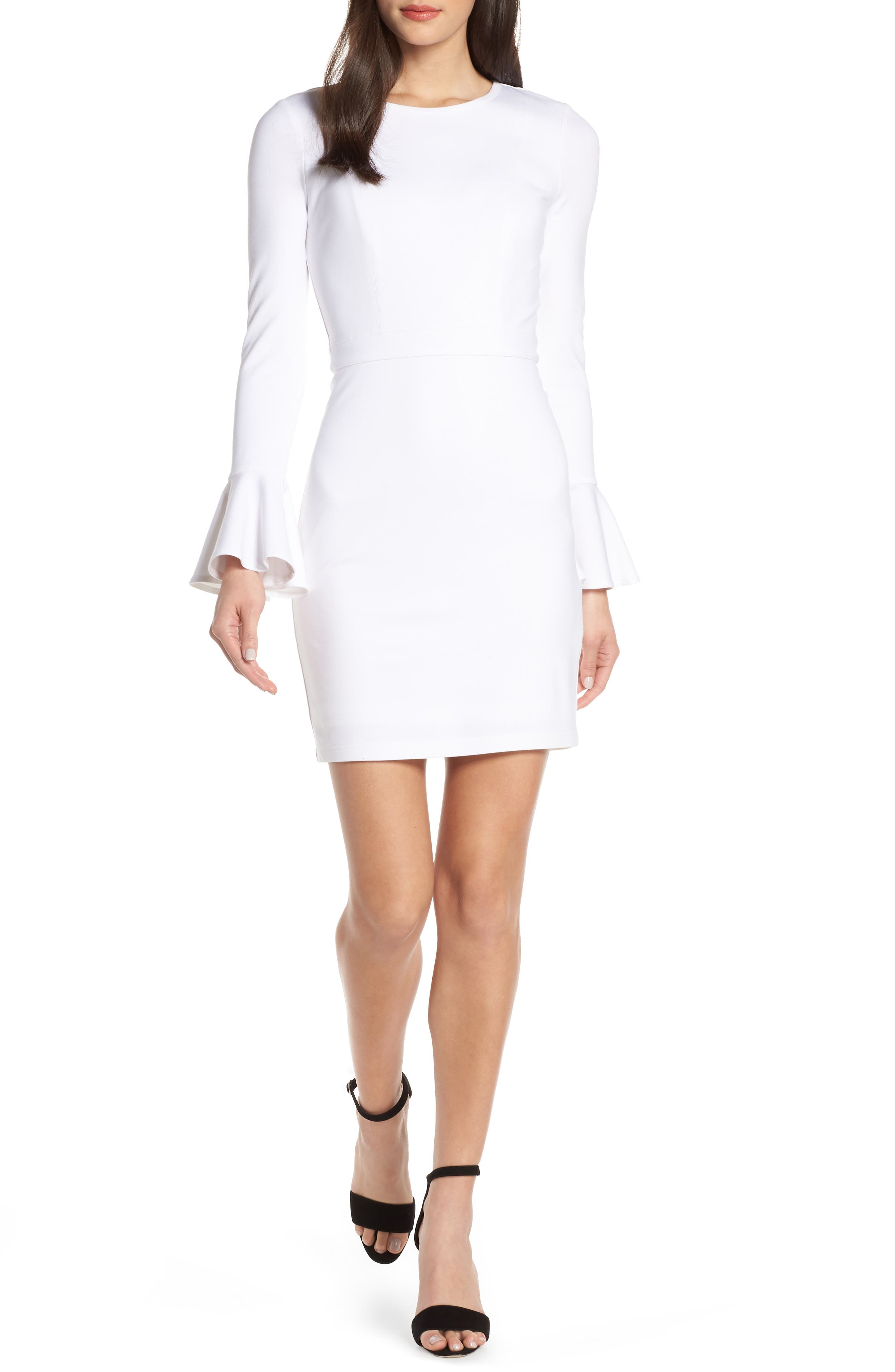 ALI & JAY, Pavillion Bell Cuff Sheath Dress, Main thumbnail 1, color, WHITE