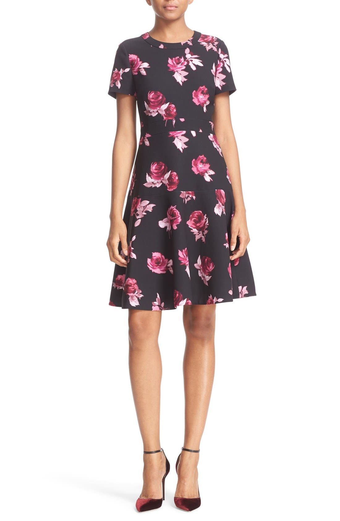 KATE SPADE NEW YORK, 'encore rose' crepe fit & flare dress, Main thumbnail 1, color, 001