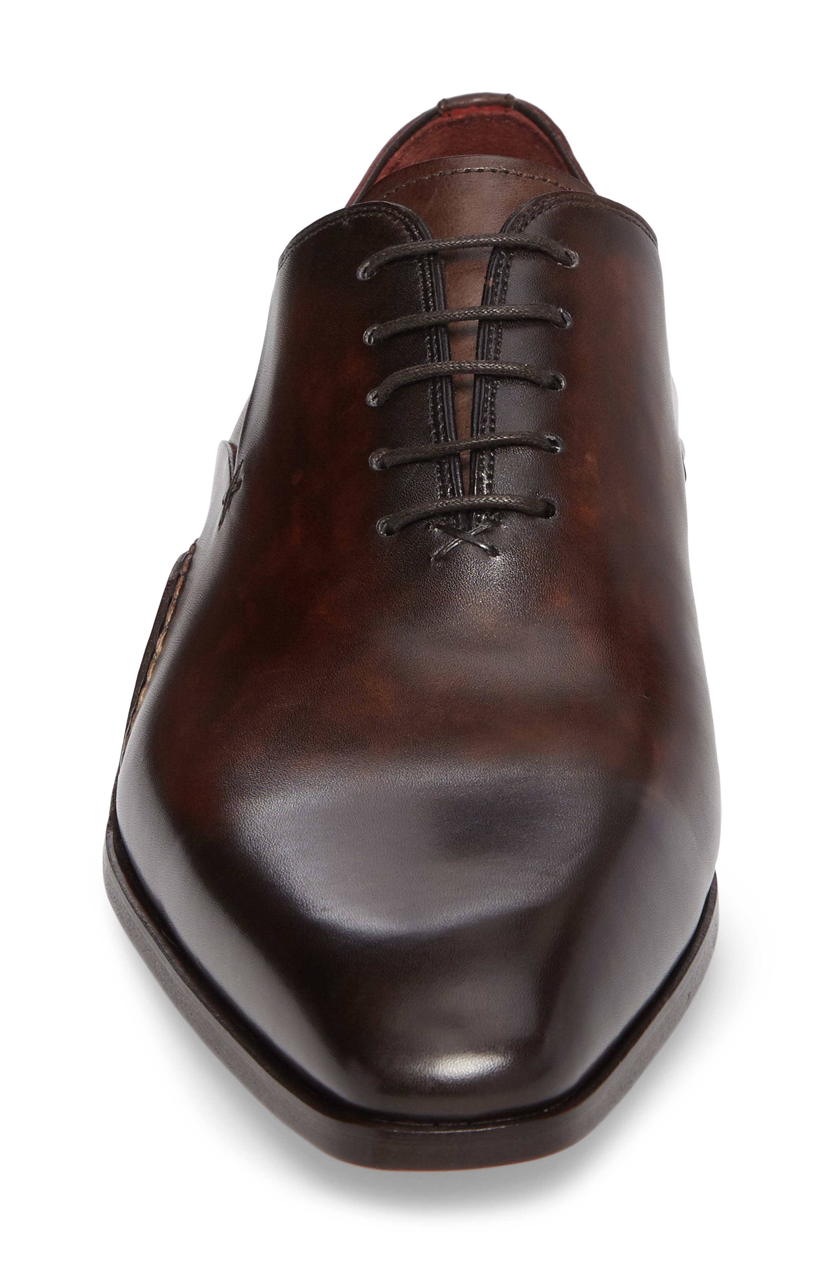 MAGNANNI, Cantabria Plain Toe Oxford, Alternate thumbnail 4, color, BROWN/ RED LEATHER