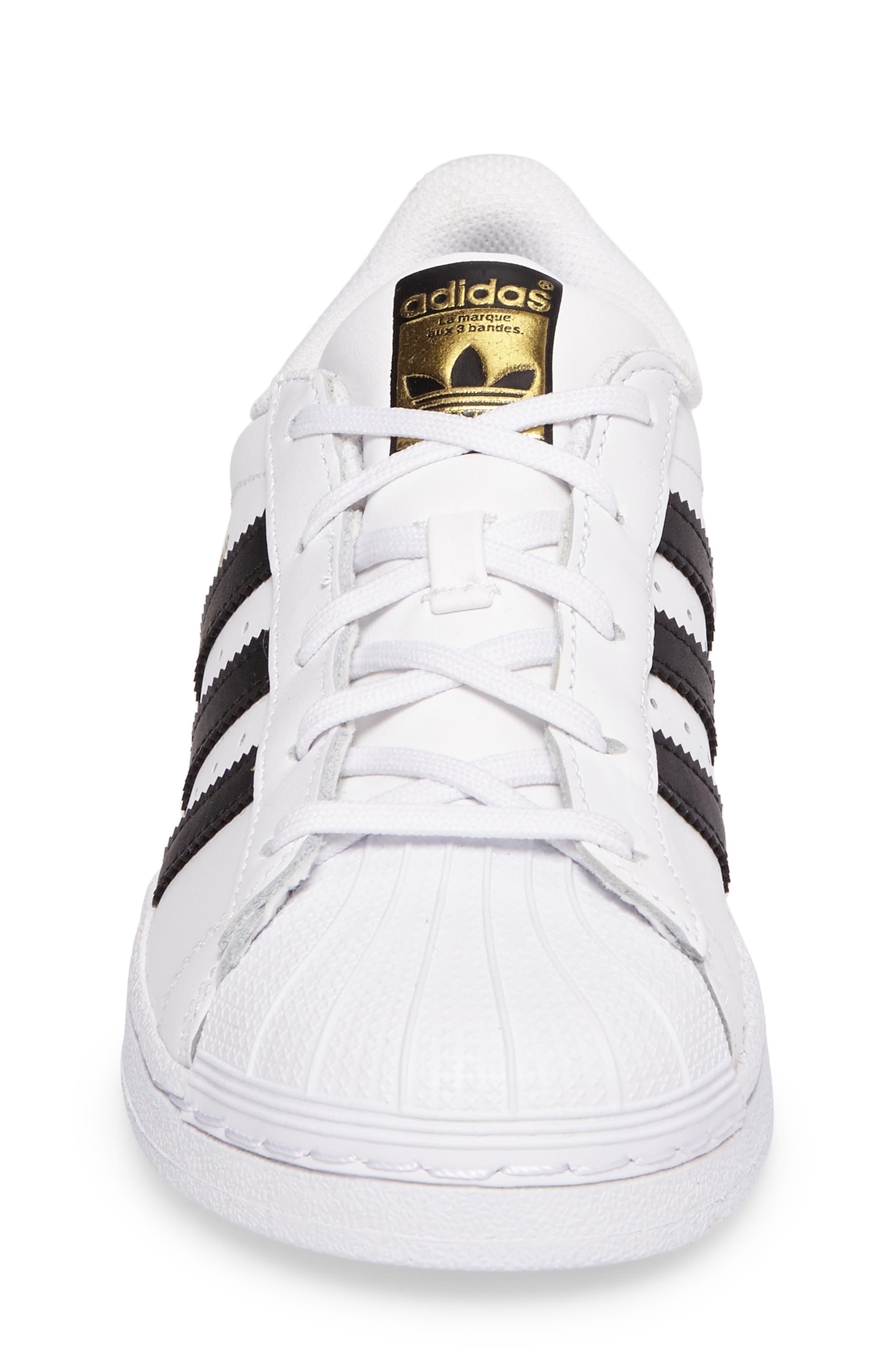 ADIDAS, 'Superstar Foundation' Sneaker, Alternate thumbnail 4, color, WHITE/ BLACK