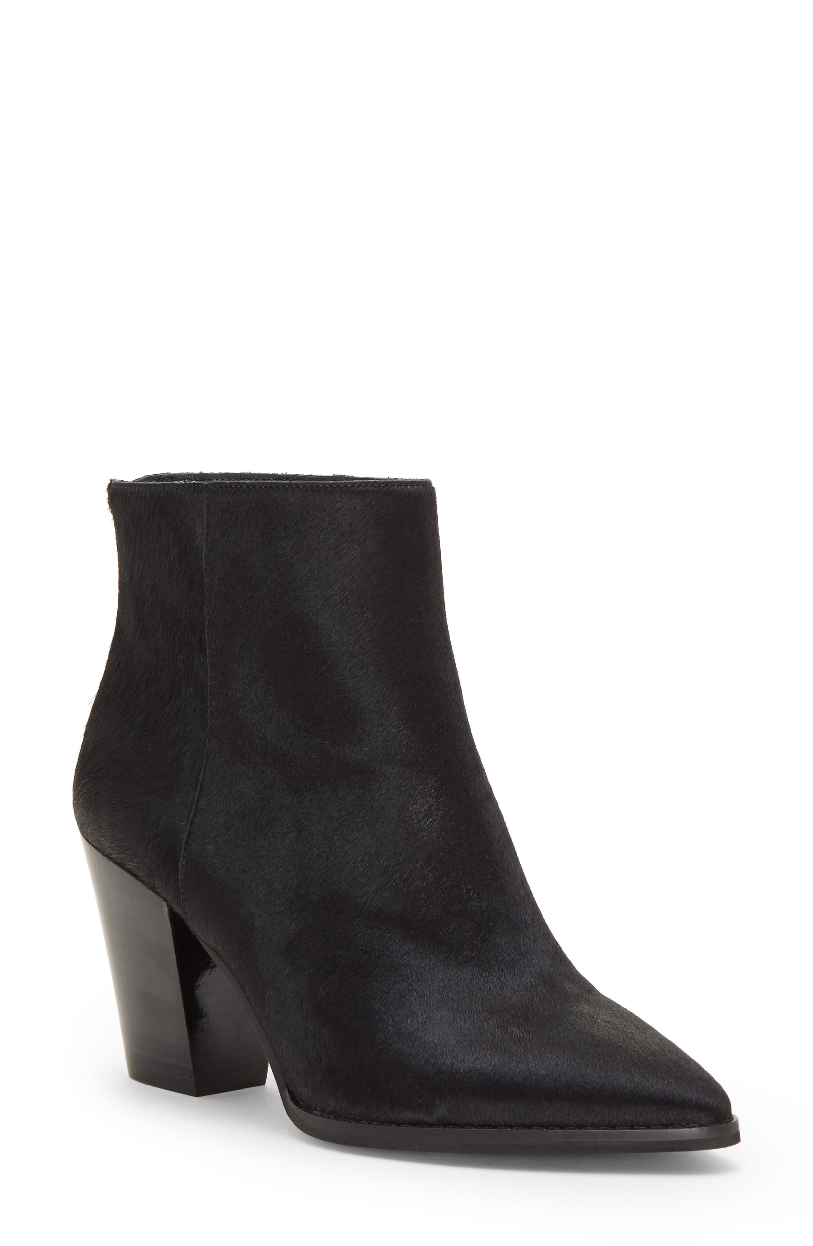 Lucky Brand Adalan Ii Genuine Calf Hair Bootie- Black