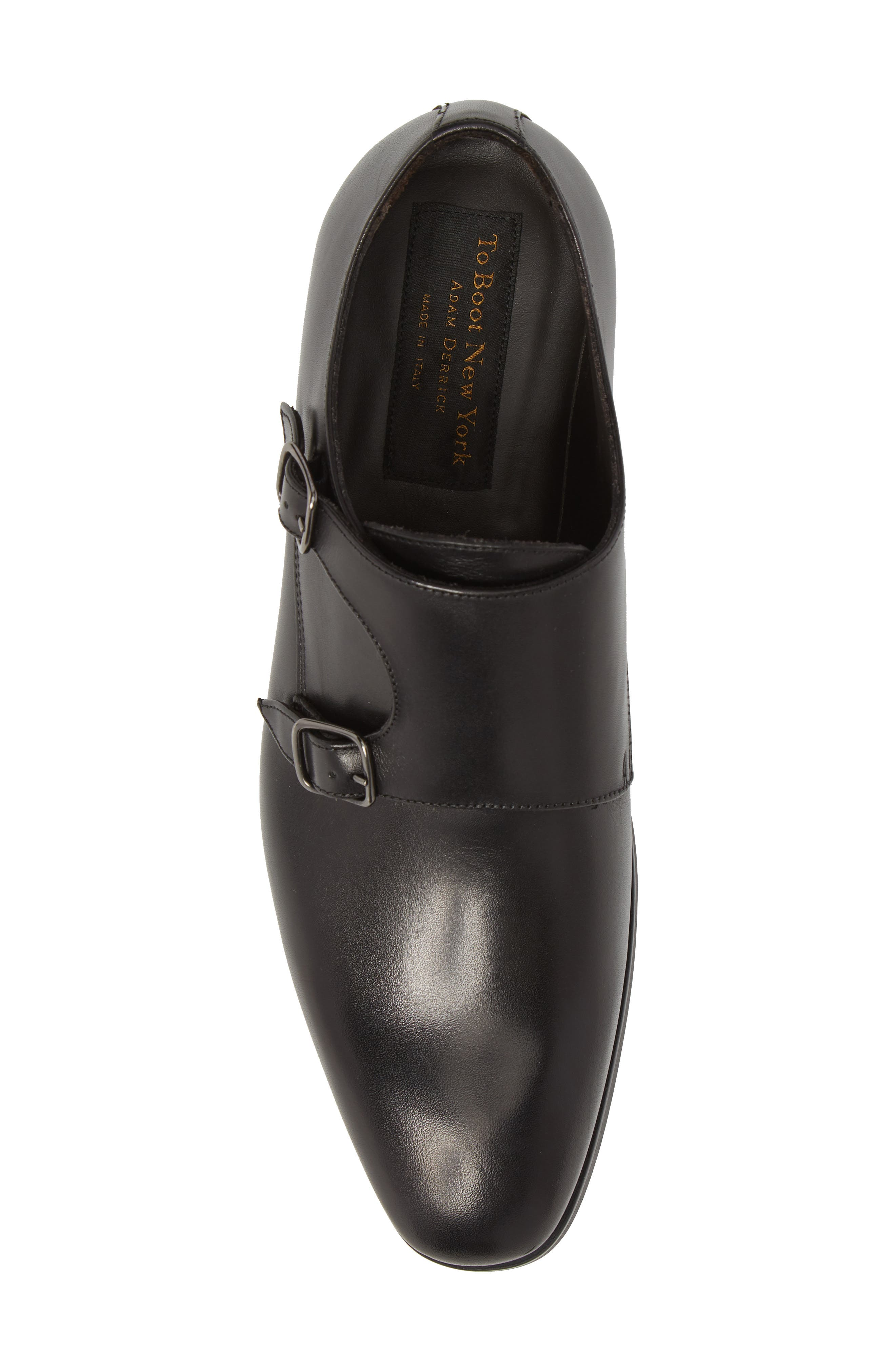 TO BOOT NEW YORK, Benjamin Double Monk Strap Shoe, Alternate thumbnail 5, color, 002