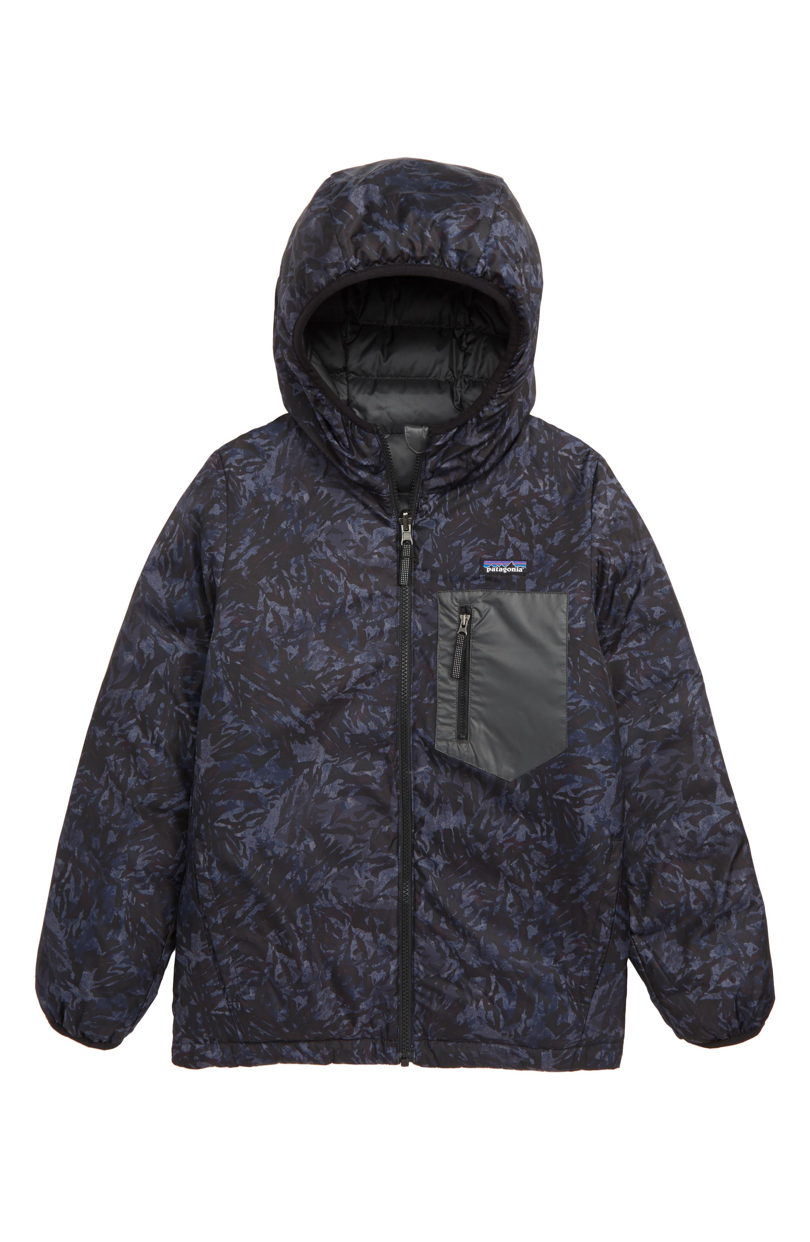 PATAGONIA, Water Repellent Reversible Down Sweater Hoodie, Alternate thumbnail 2, color, BLACK