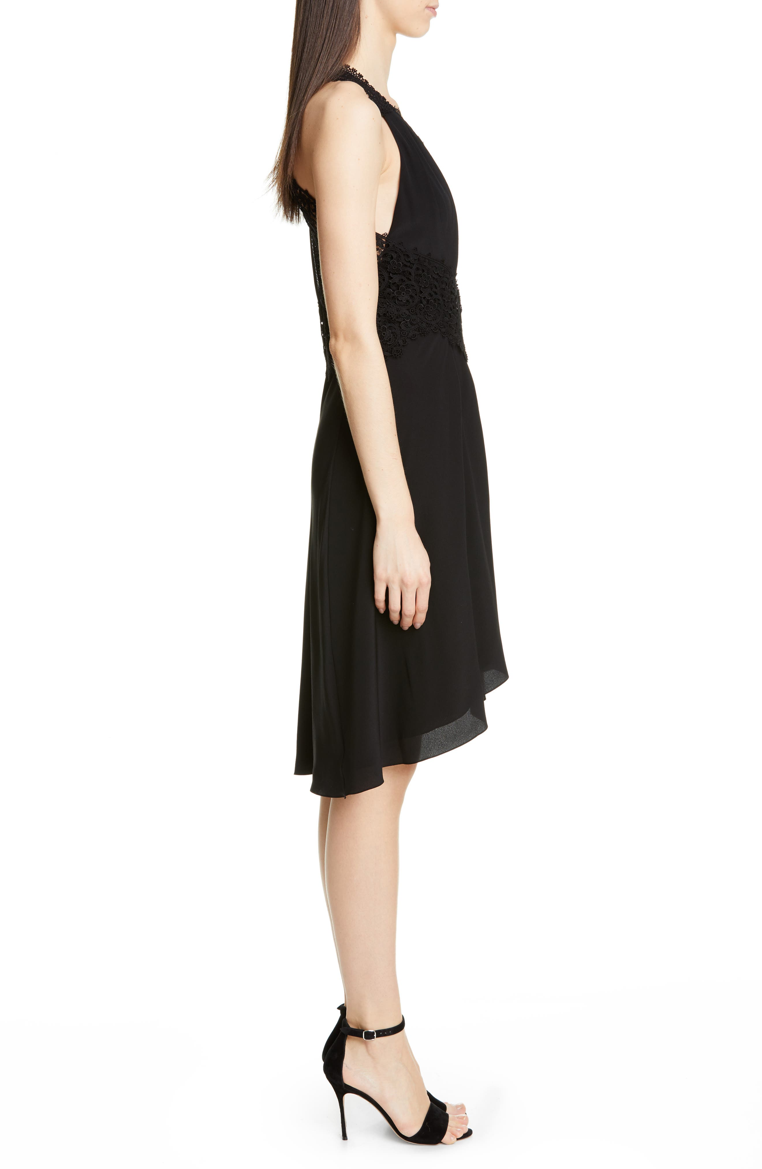 VICTORIA BECKHAM, Mixed Lace Trim High/Low Silk Dress, Alternate thumbnail 4, color, BLACK