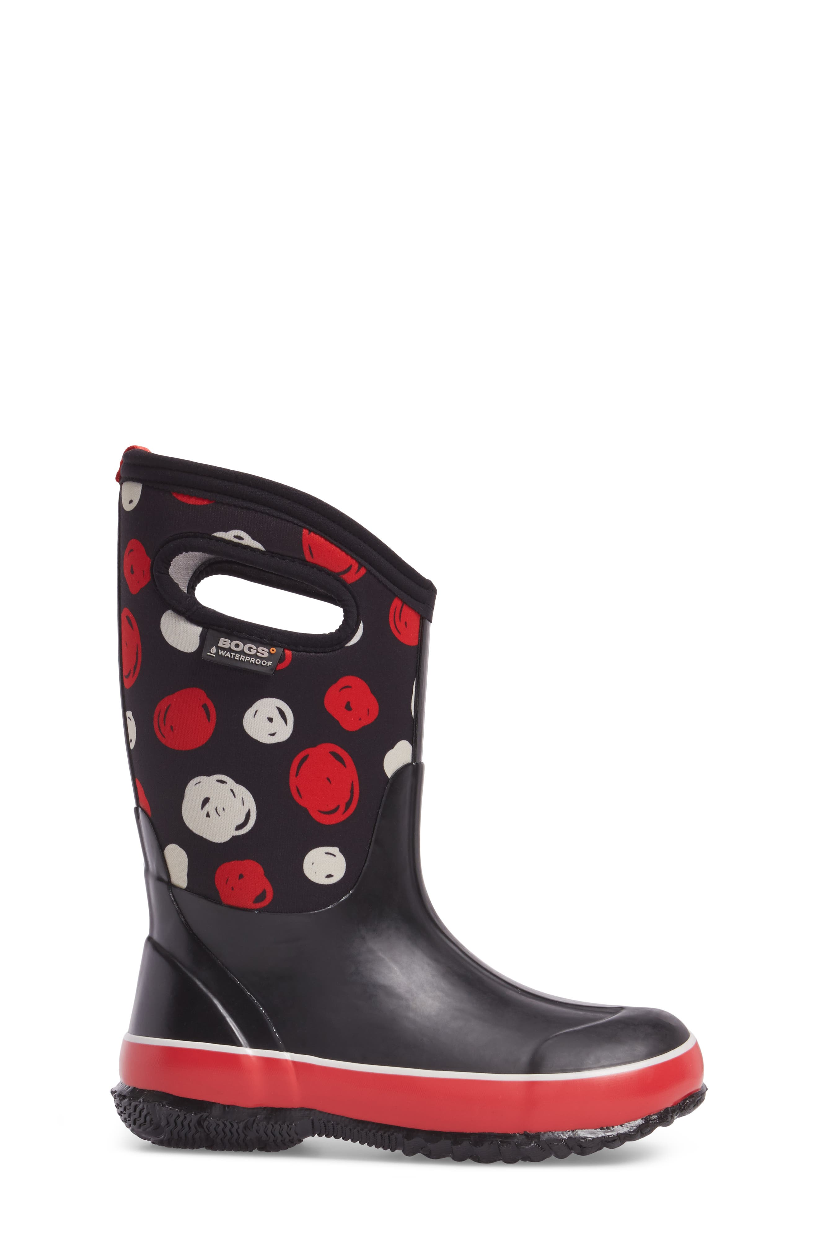 BOGS, Classic Sketched Dots Insulated Waterproof Boot, Alternate thumbnail 3, color, BLACK MULTI
