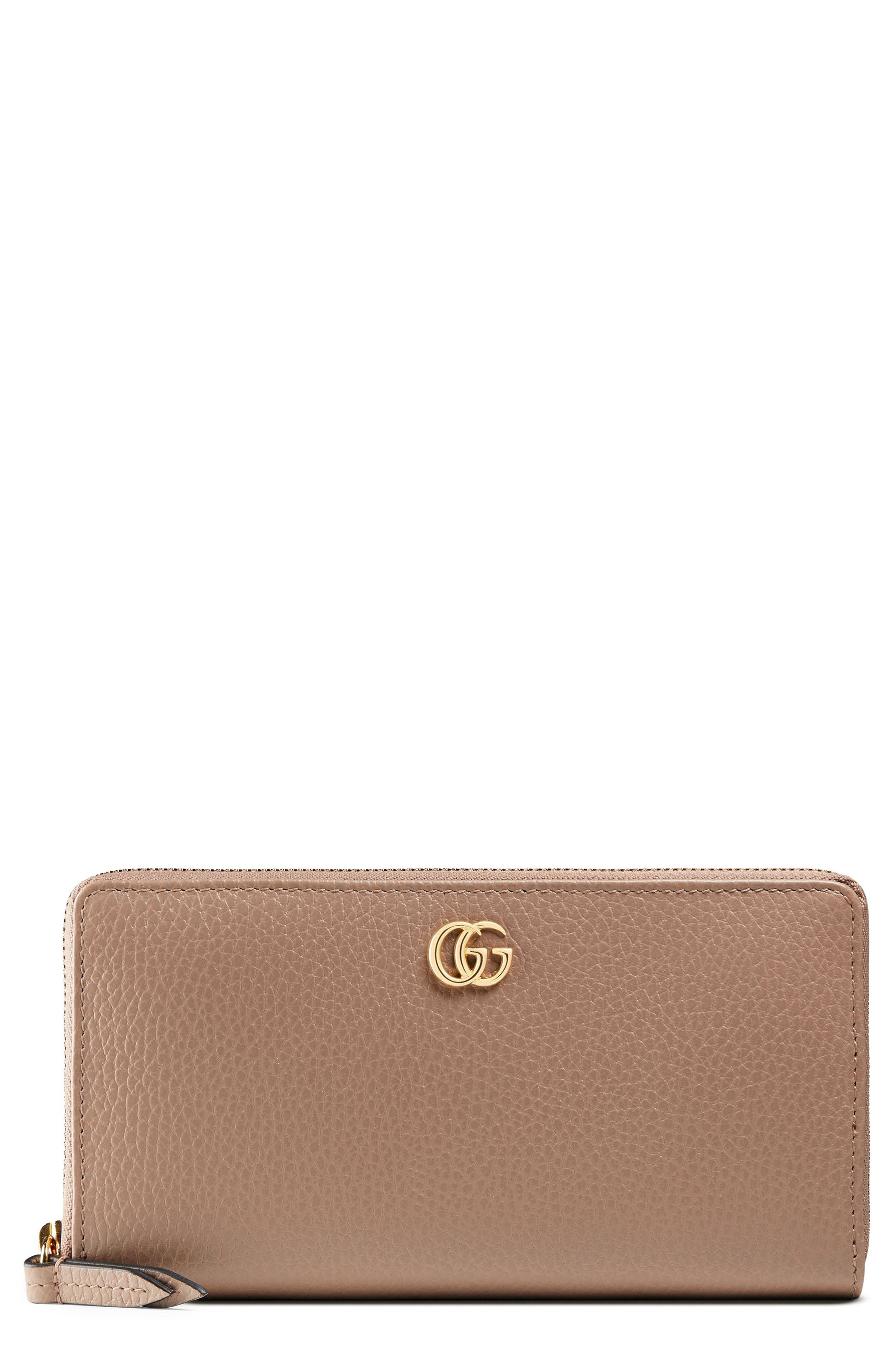 GUCCI Petite Marmont Leather Zip Around Wallet, Main, color, PORCELAIN ROSE