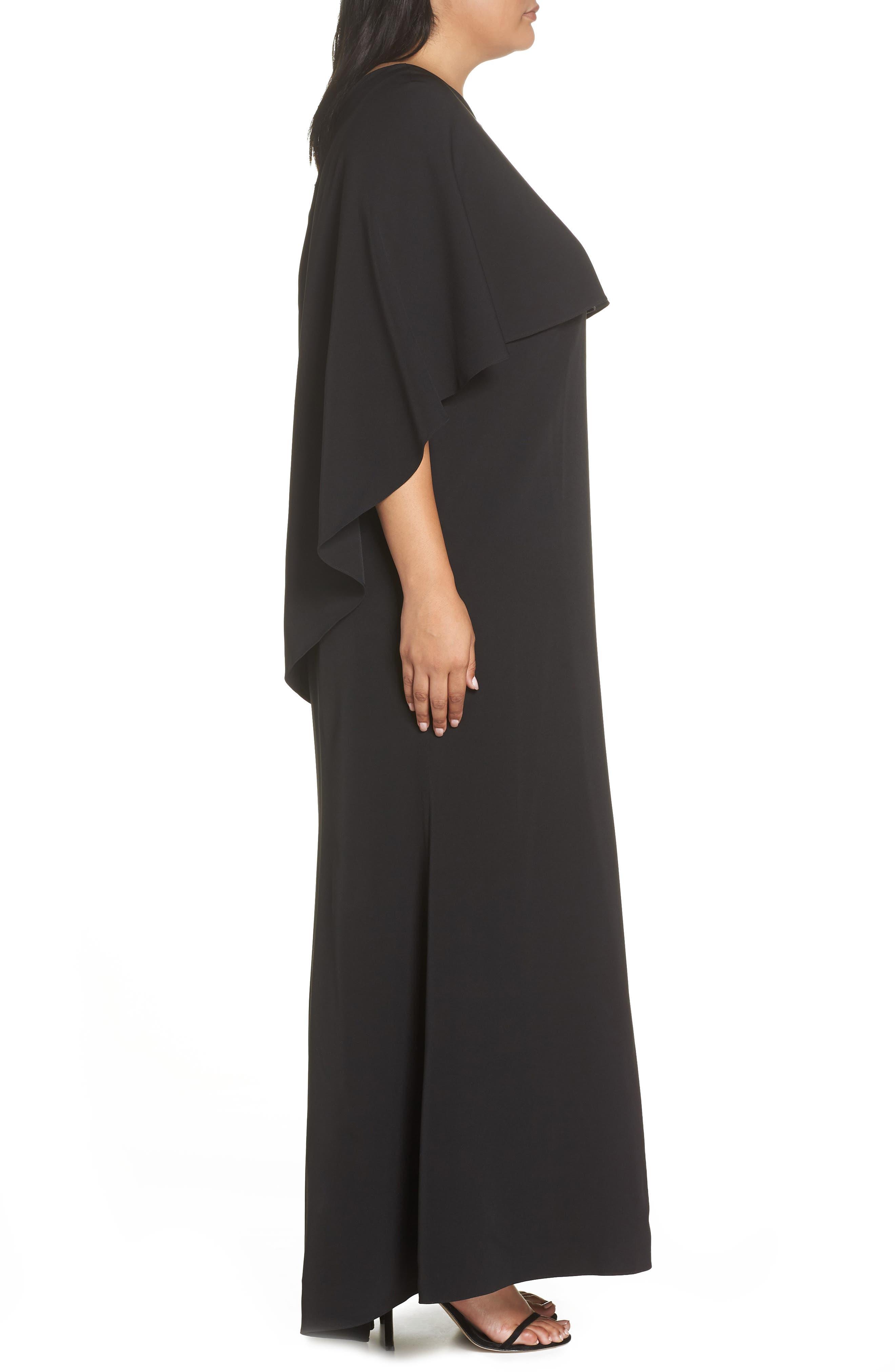 VINCE CAMUTO, One-Shoulder Cape Gown, Alternate thumbnail 4, color, BLACK