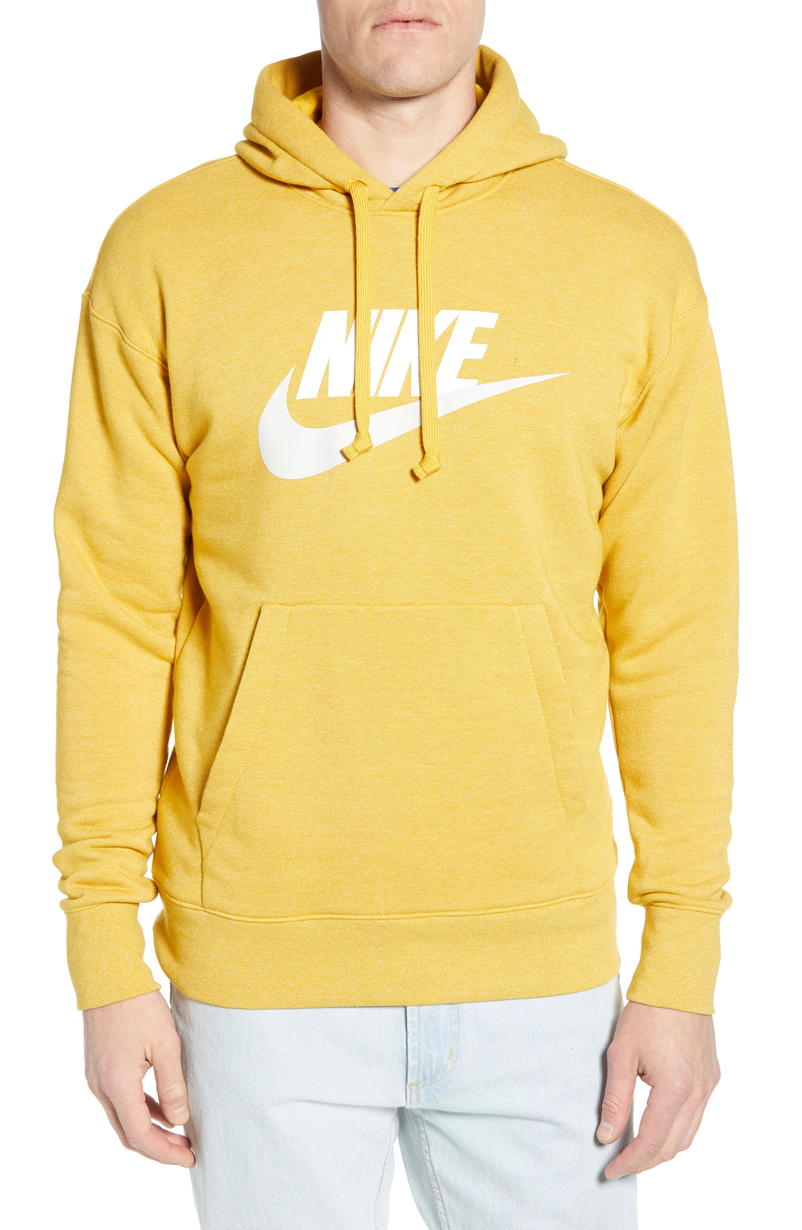 NIKE, Heritage Logo Hoodie, Main thumbnail 1, color, GOLD DART/ HEATHER