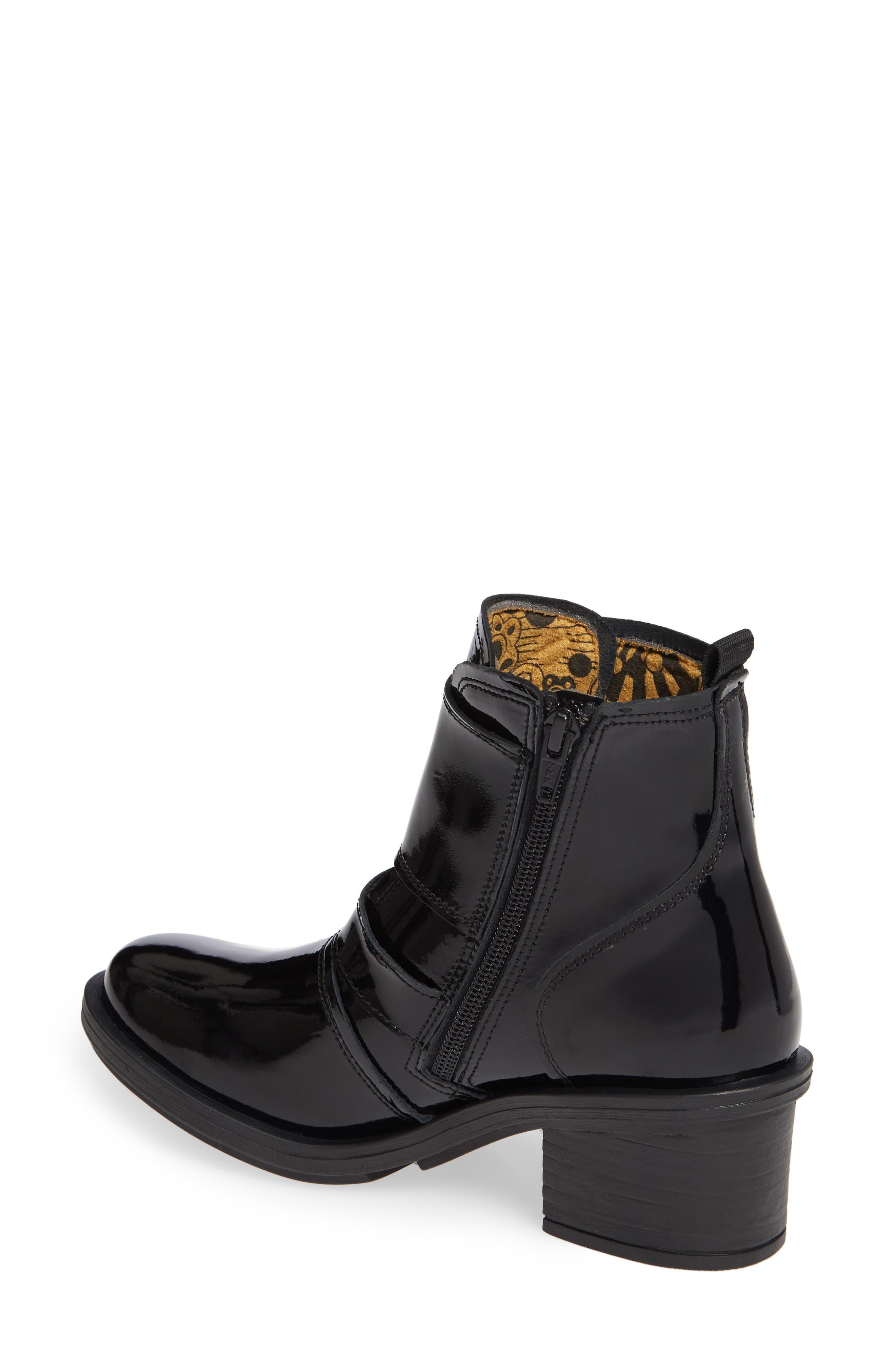 FLY LONDON, Crip Buckle Boot, Alternate thumbnail 2, color, BLACK PATENT LEATHER