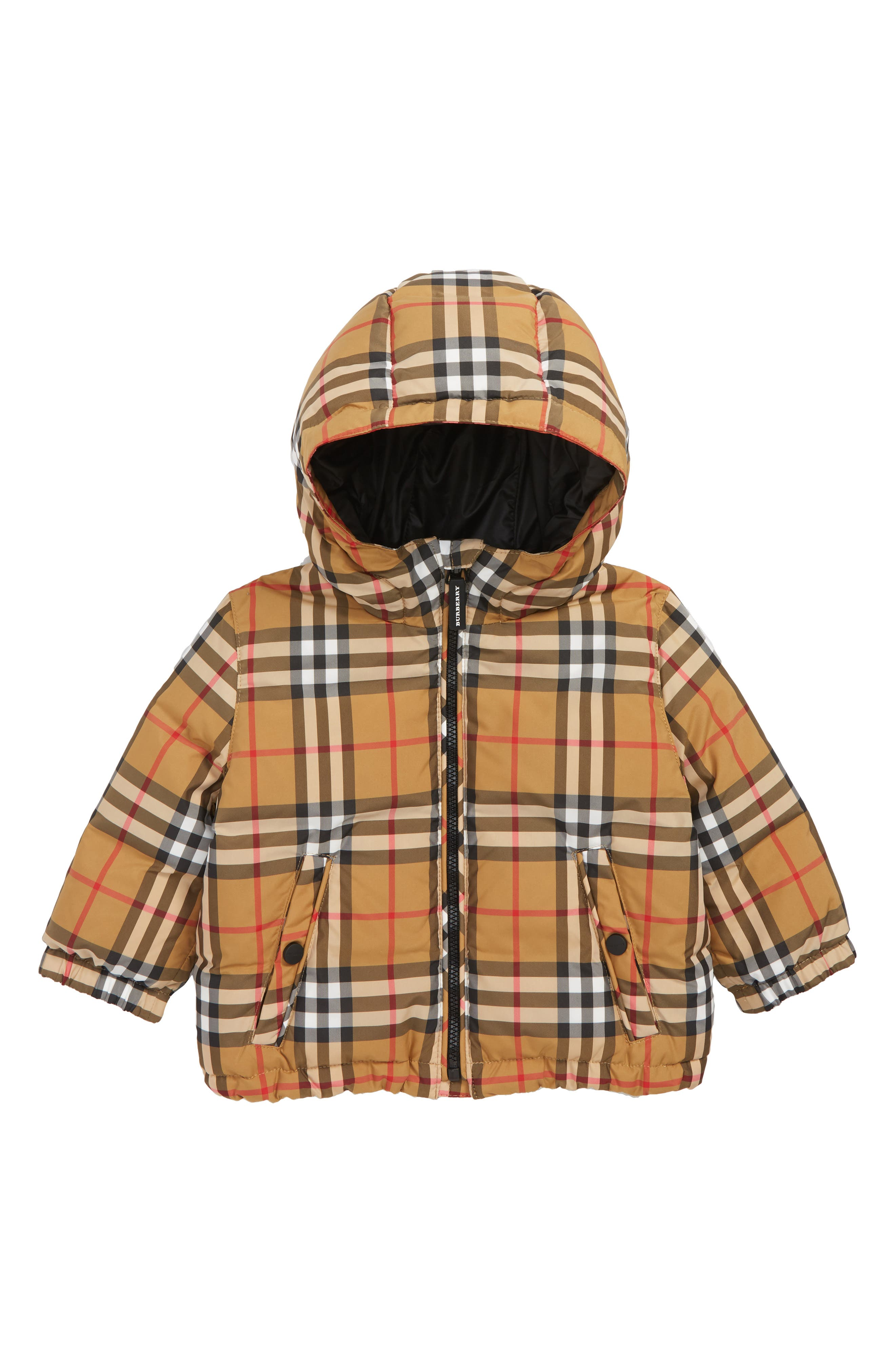 BURBERRY, Check Hooded Down Coat, Main thumbnail 1, color, ANTIQUE YELLW IP CHK