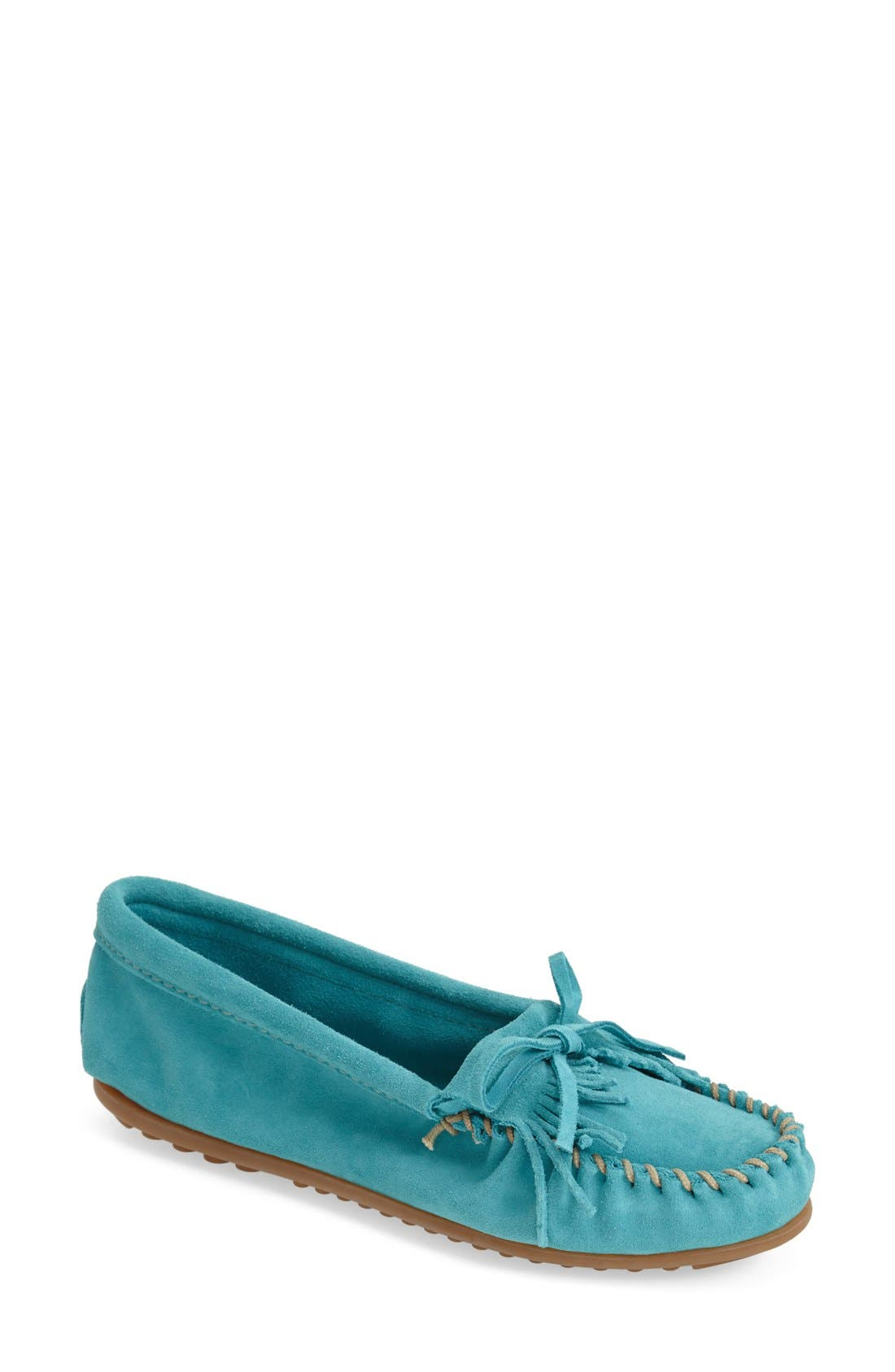 MINNETONKA, 'Kilty' Suede Moccasin, Main thumbnail 1, color, TURQUOISE
