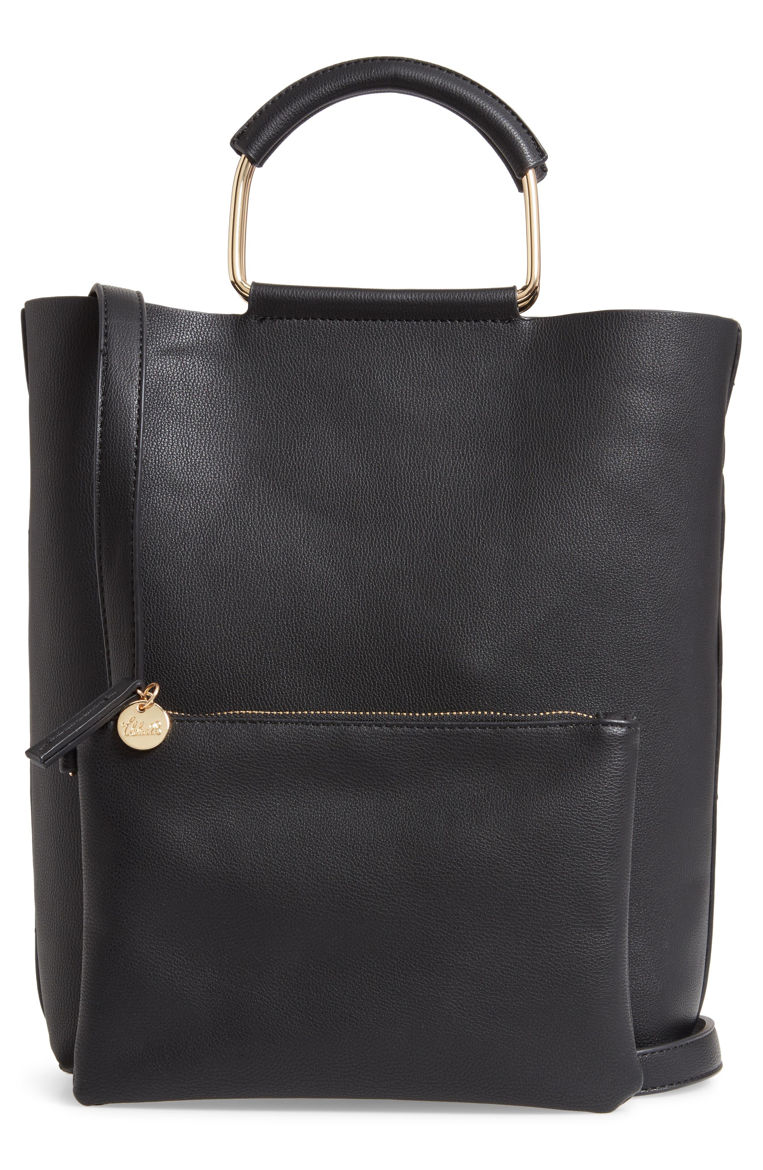 TROUVÉ, Payton Convertible Faux Leather Tote, Alternate thumbnail 3, color, BLACK