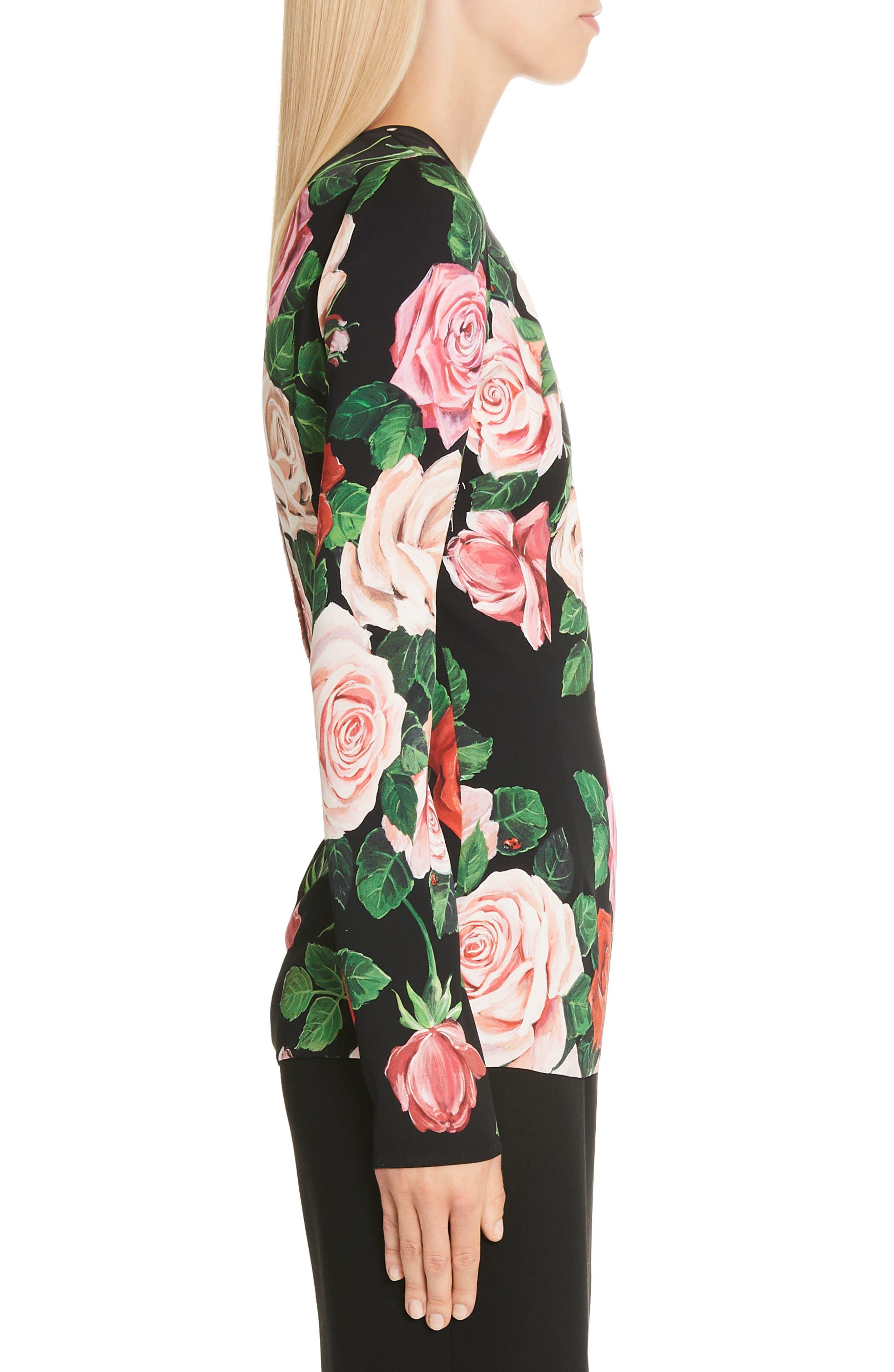 DOLCE&GABBANA, Rose Print Stretch Silk Top, Alternate thumbnail 3, color, BLACK ROSE