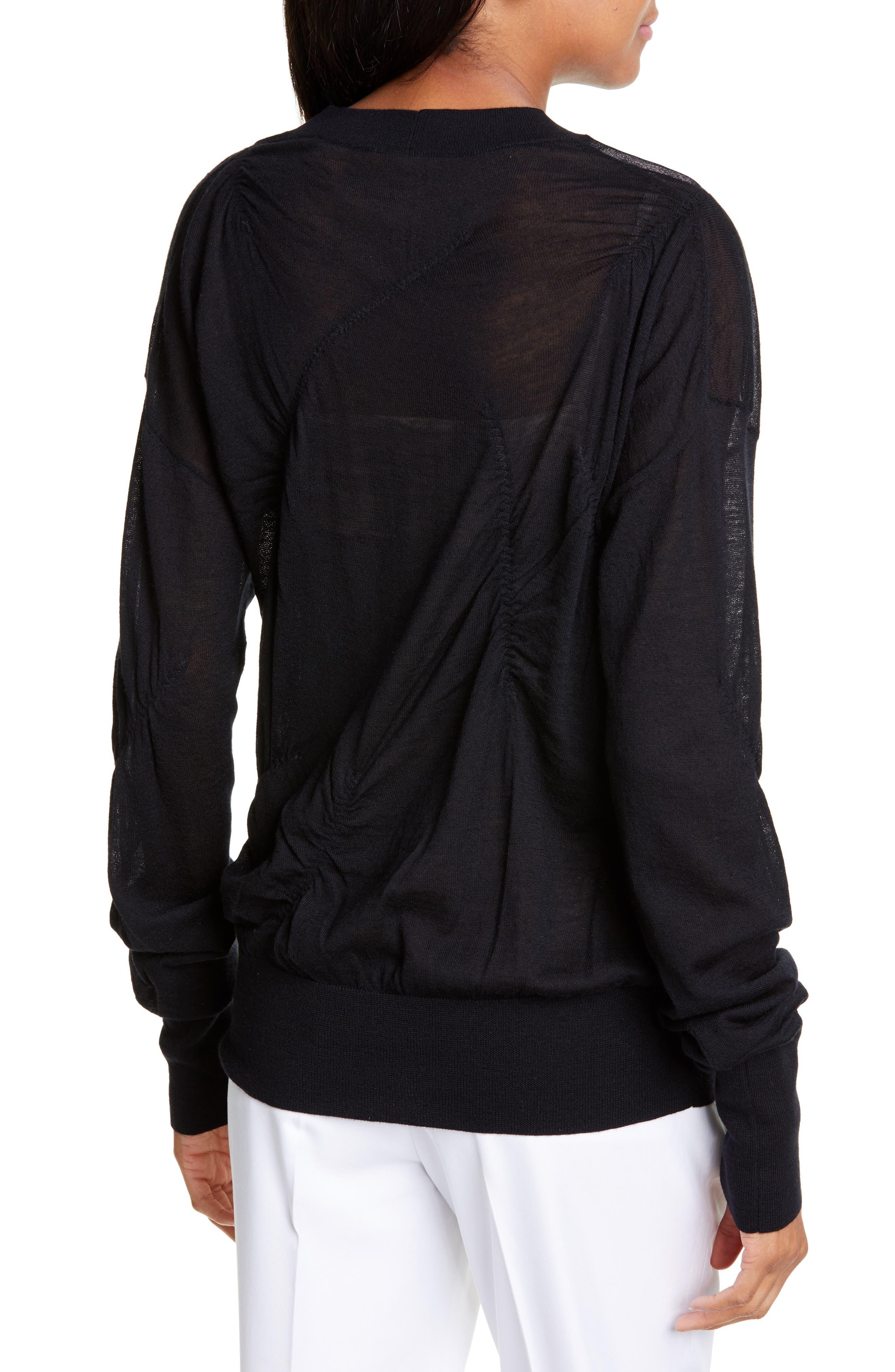 HELMUT LANG, Ruched Seam Detail Cashmere Sweater, Alternate thumbnail 2, color, BLACK