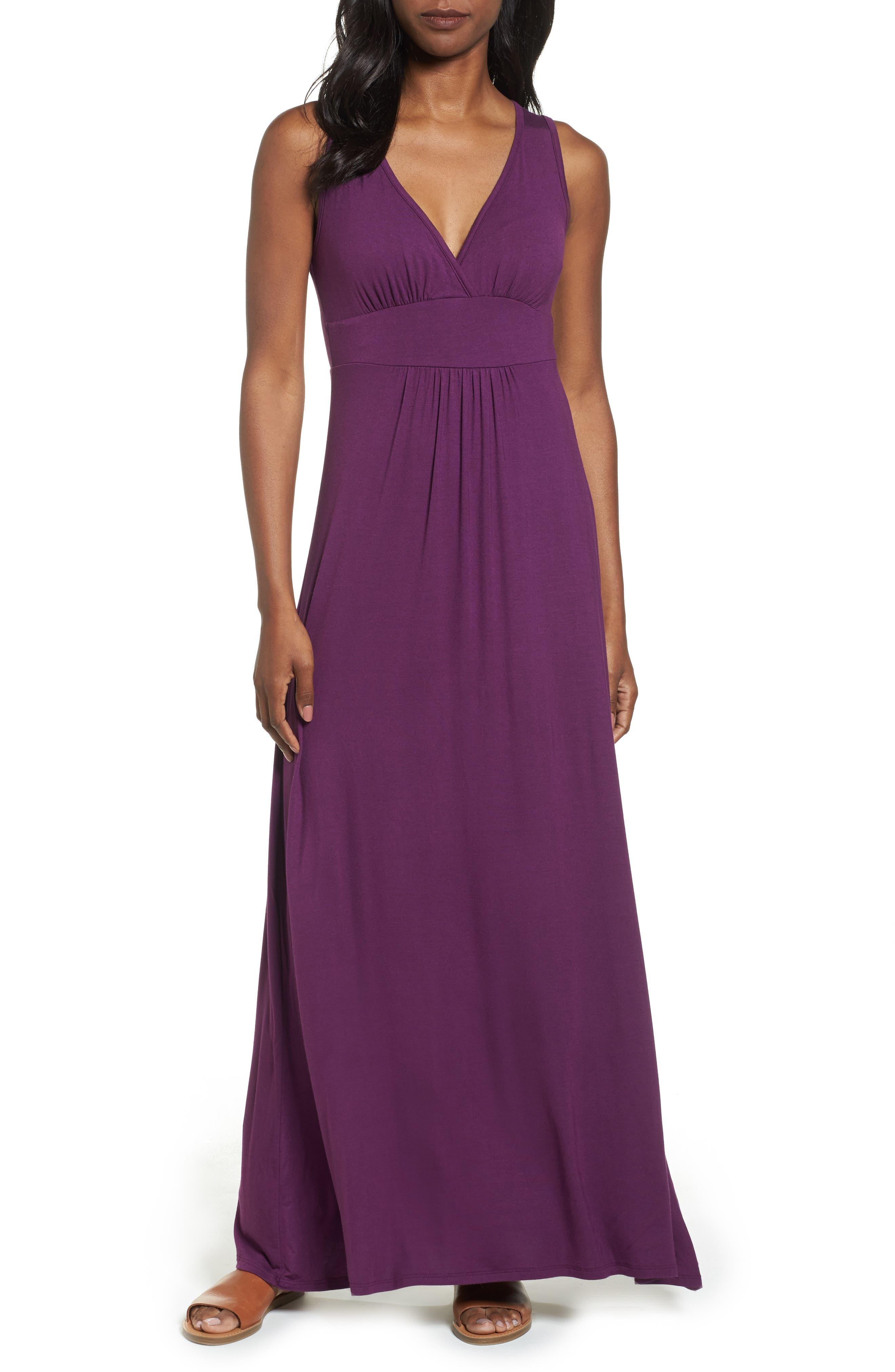 Loveappella V-Neck Jersey Maxi Dress, Purple
