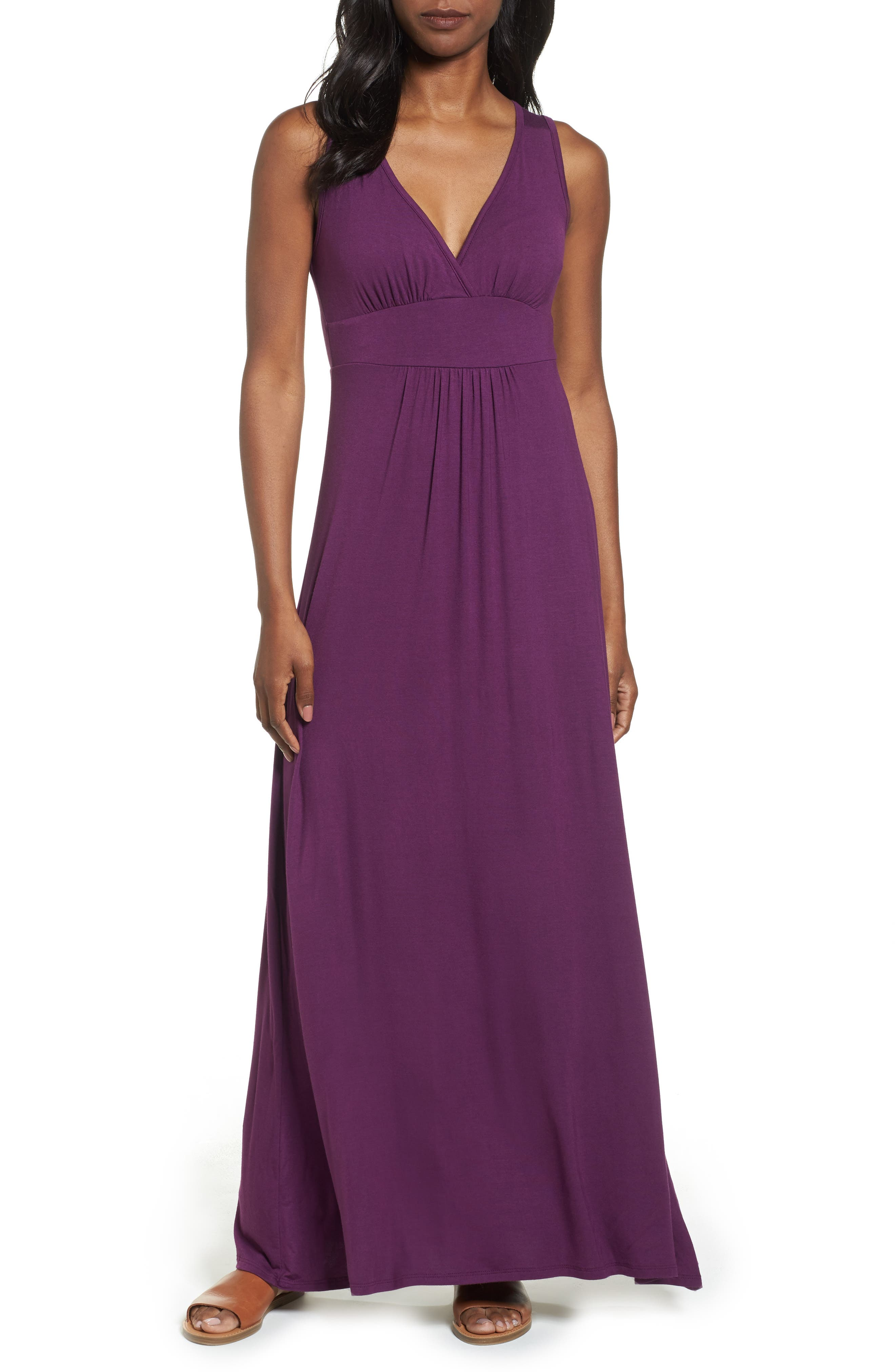 LOVEAPPELLA, V-Neck Jersey Maxi Dress, Main thumbnail 1, color, PURPLE DARK