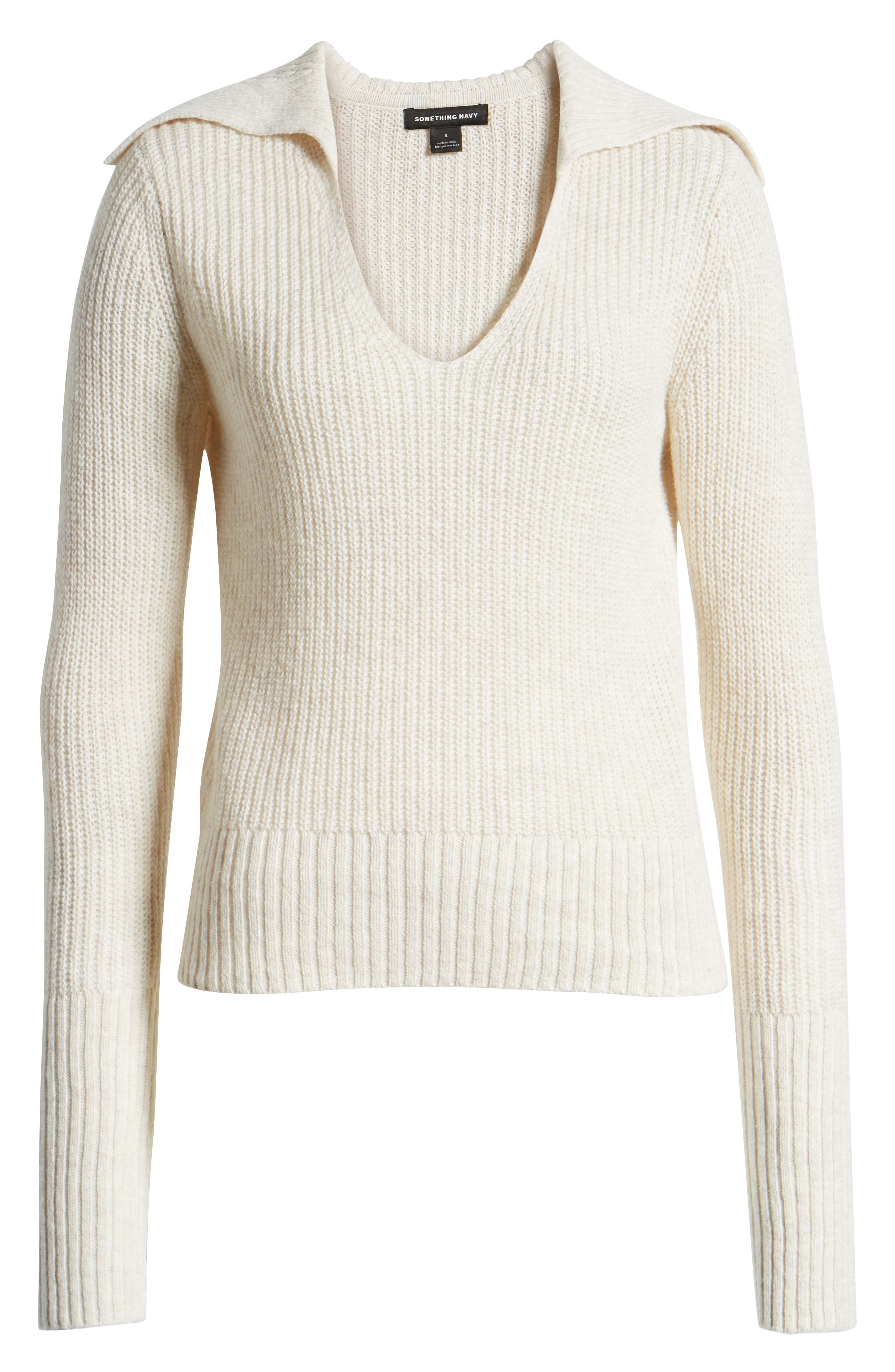 SOMETHING NAVY, V-Neck Polo Sweater, Alternate thumbnail 8, color, BEIGE OATMEAL LIGHT HEATHER
