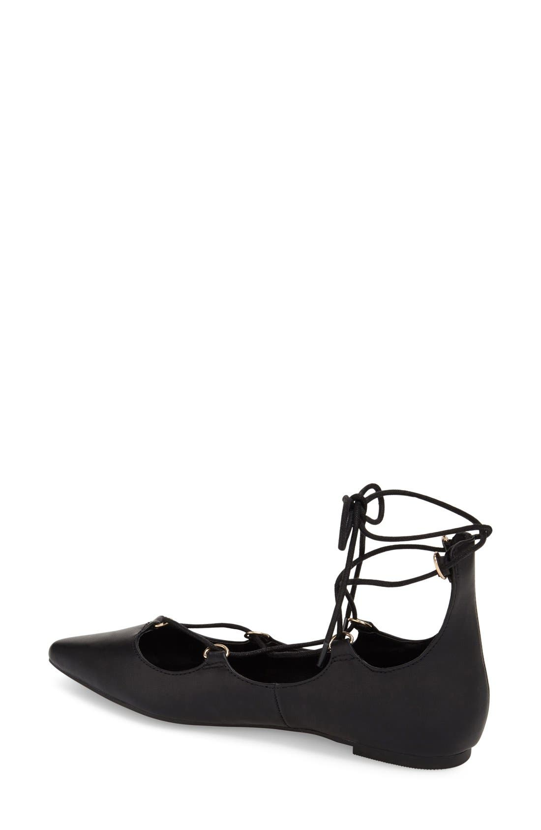 TOPSHOP, 'Fancy' Pointy Toe Ghillie Flat, Alternate thumbnail 4, color, 001