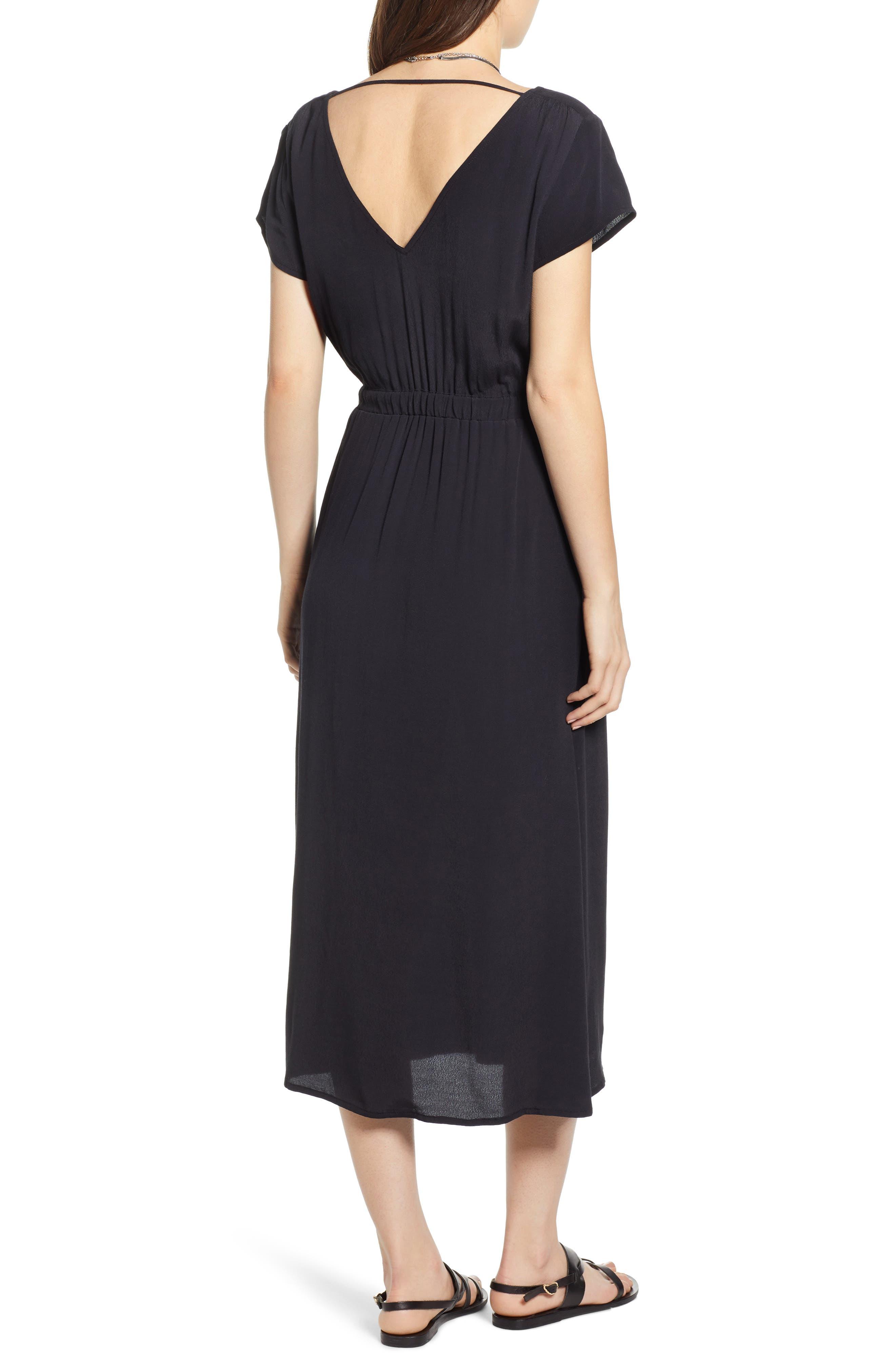 TREASURE & BOND, Cap Sleeve Midi Dress, Alternate thumbnail 2, color, BLACK