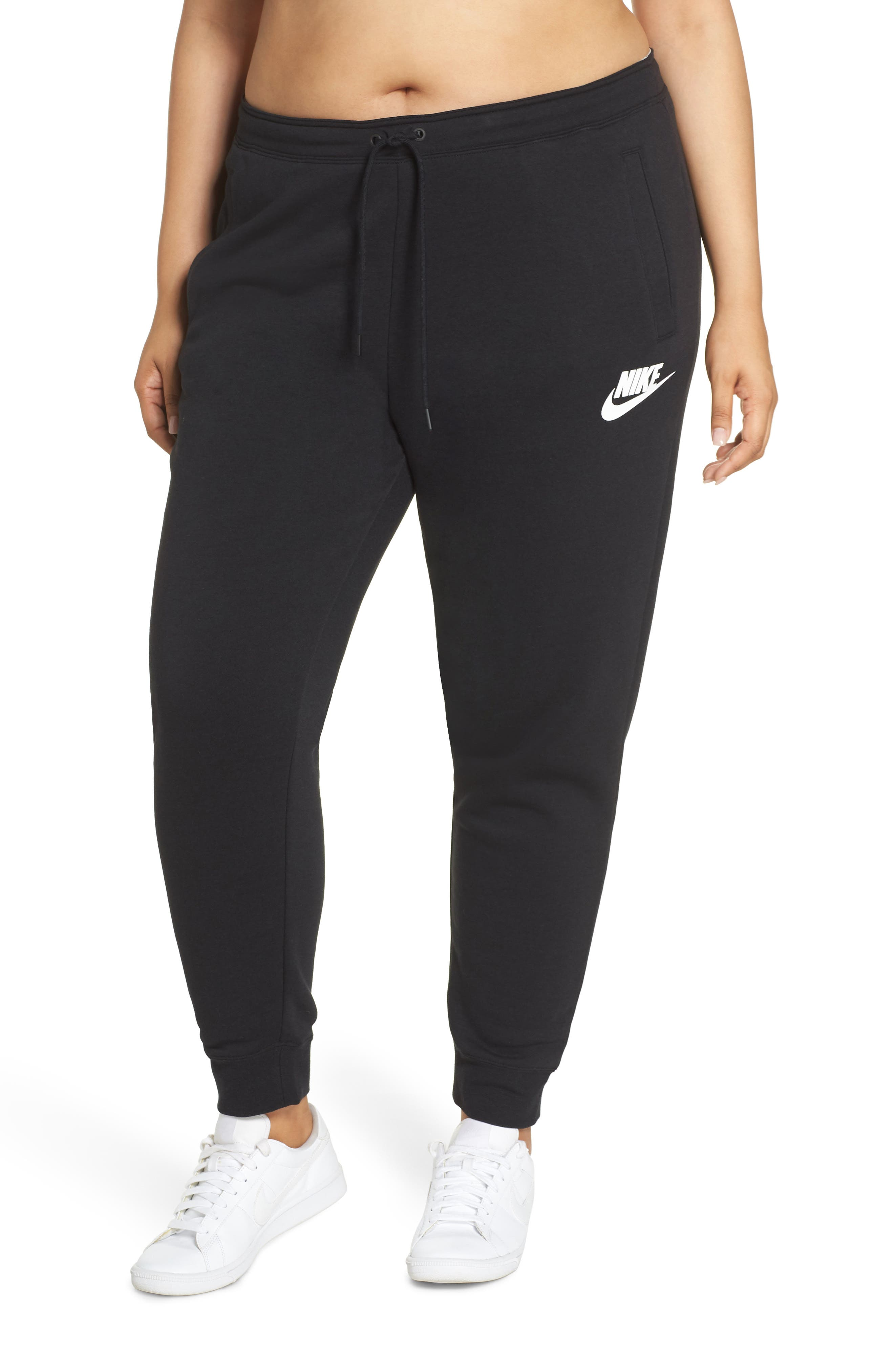 NIKE, Sportswear Rally High Rise Jogger Pants, Main thumbnail 1, color, BLACK/ BLACK/ WHITE