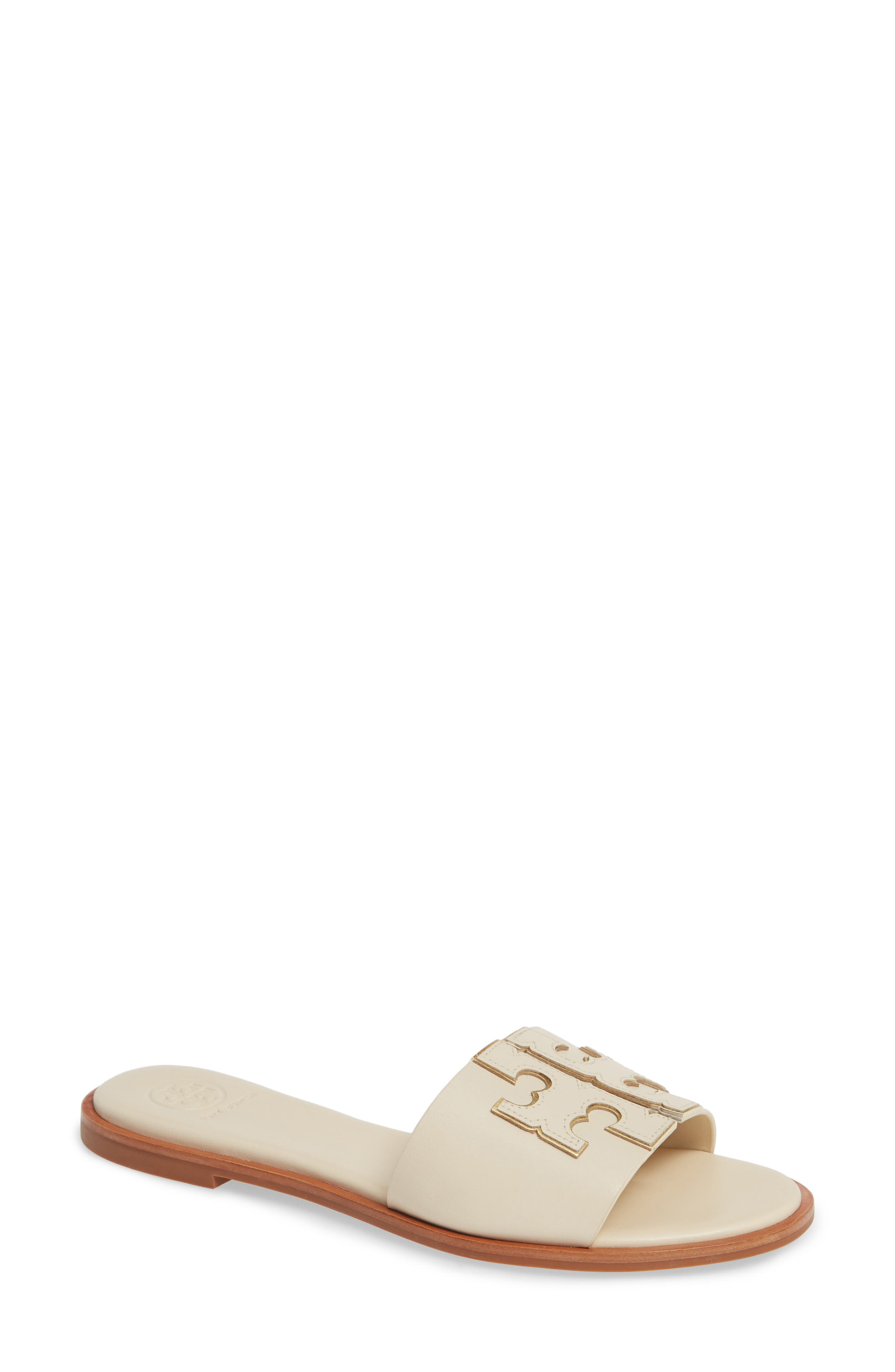 TORY BURCH, Ines Slide Sandal, Main thumbnail 1, color, NEW CREAM/ GOLD