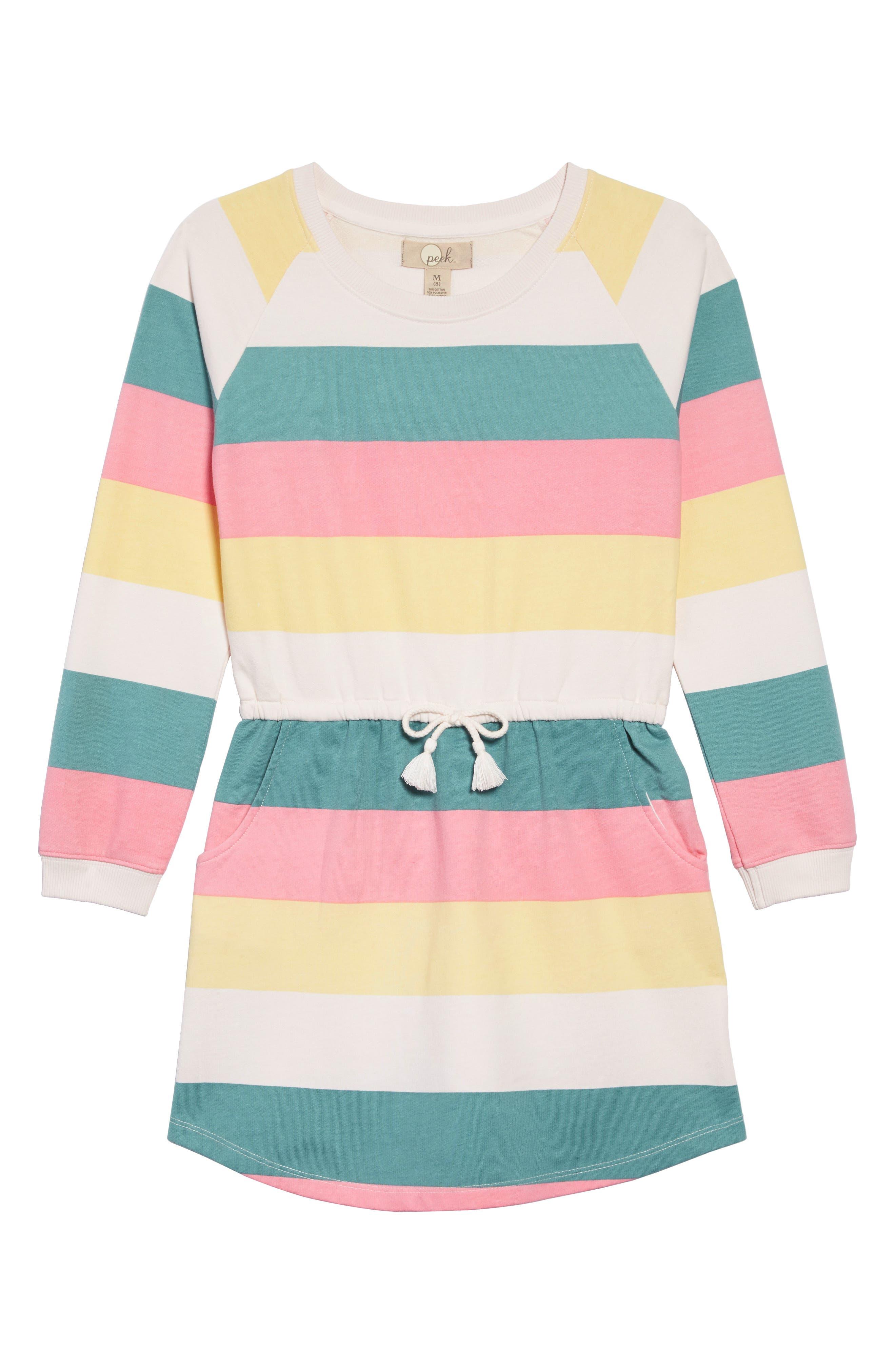 PEEK AREN'T YOU CURIOUS, Brynn Stripe Sweatshirt Dress, Main thumbnail 1, color, 650