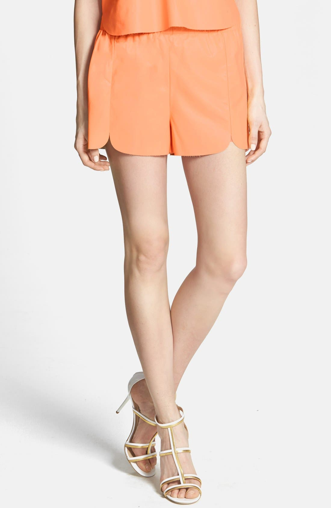 ASTR THE LABEL, ASTR Faux Leather Dolphin Shorts, Main thumbnail 1, color, 950