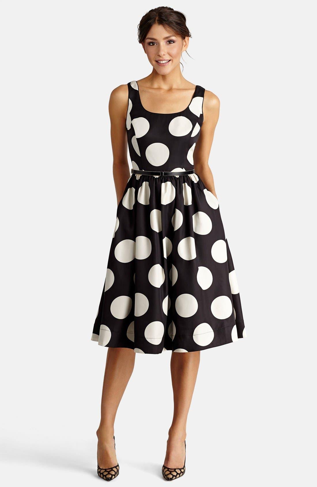 DONNA MORGAN, Polka Dot Fit & Flare Midi Dress, Main thumbnail 1, color, 009