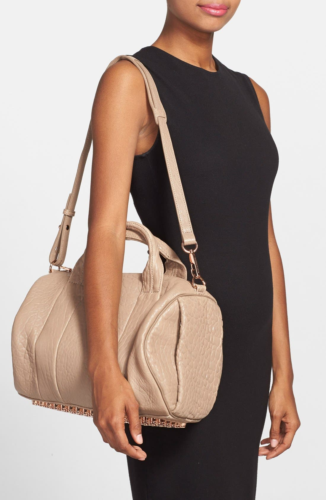 ALEXANDER WANG, 'Rocco - Rose Gold' Leather Satchel, Alternate thumbnail 5, color, 250