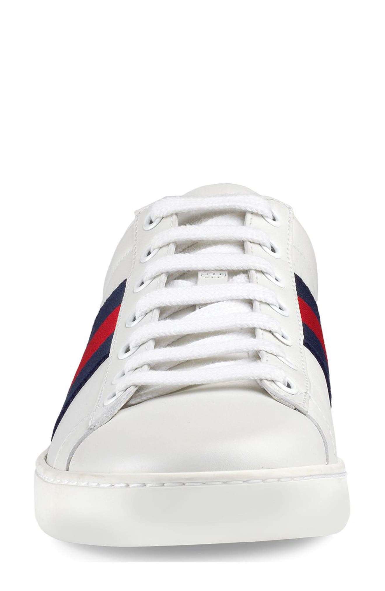 GUCCI, 'New Ace' Sneaker, Alternate thumbnail 3, color, WHITE/ BLUE