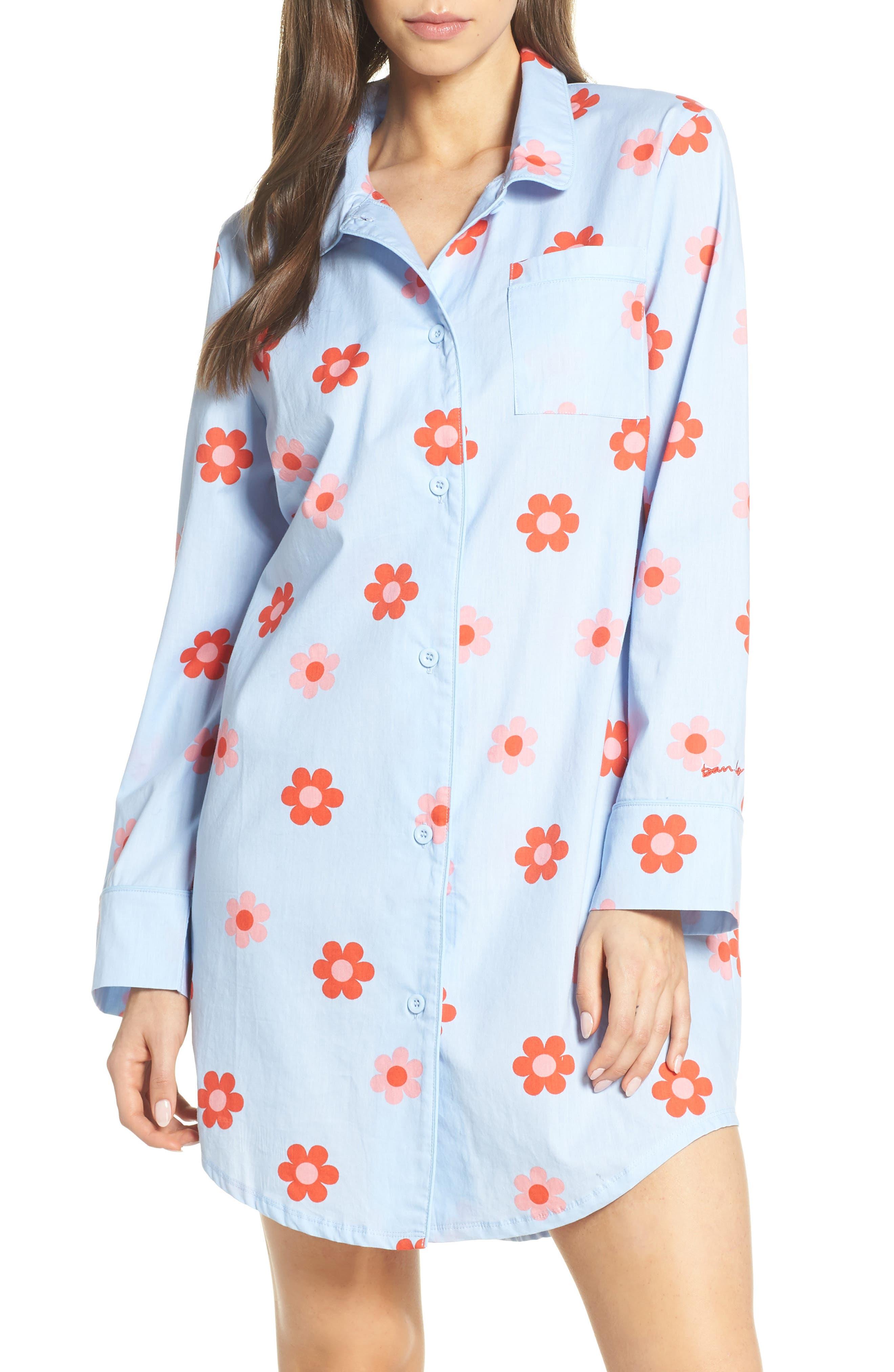 BAN.DO Retro Daisy Sleep Shirt, Main, color, LIGHT BLUE