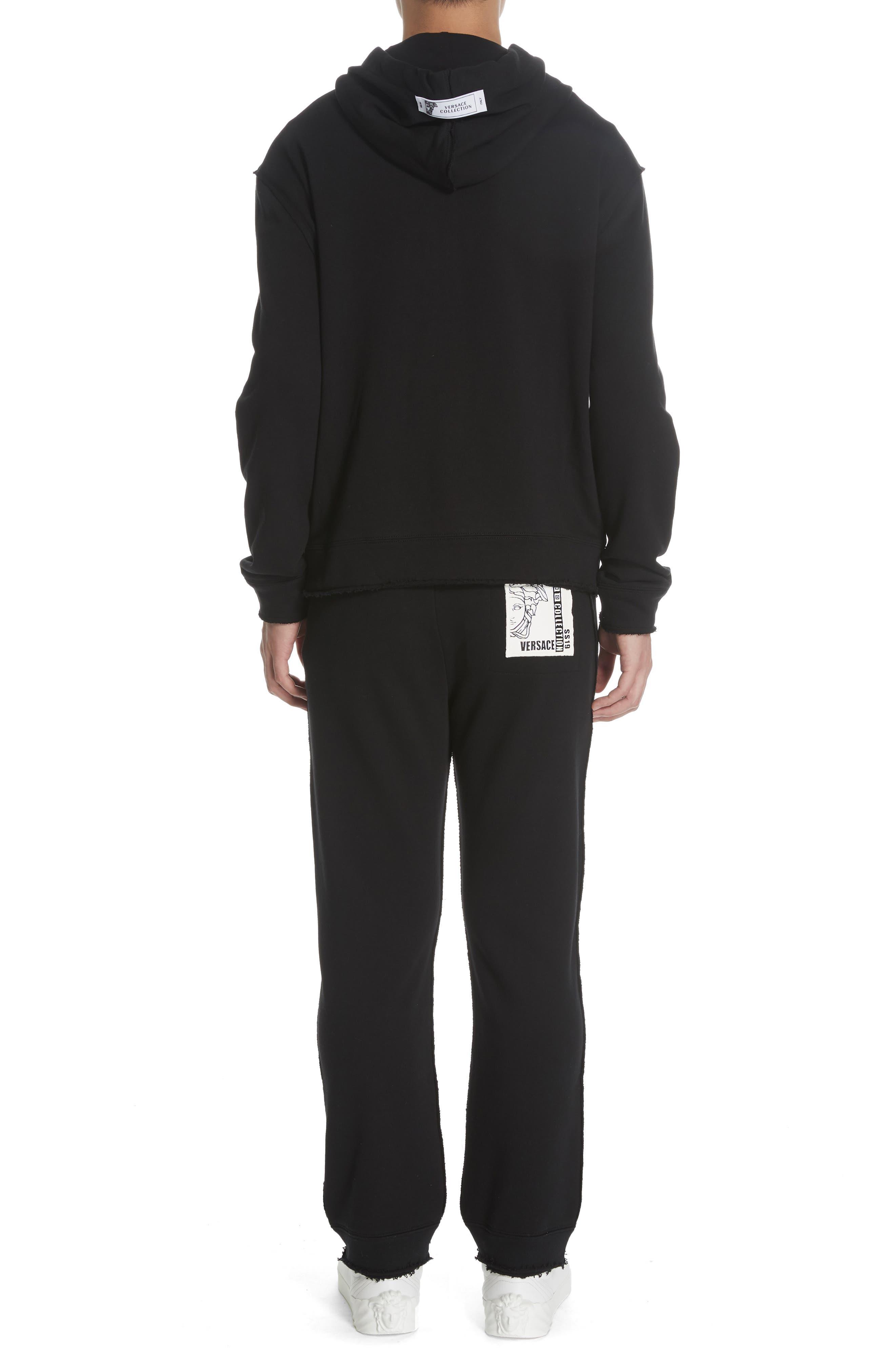 VERSACE COLLECTION, Zip Hoodie & Track Pants Set, Alternate thumbnail 3, color, BLACK