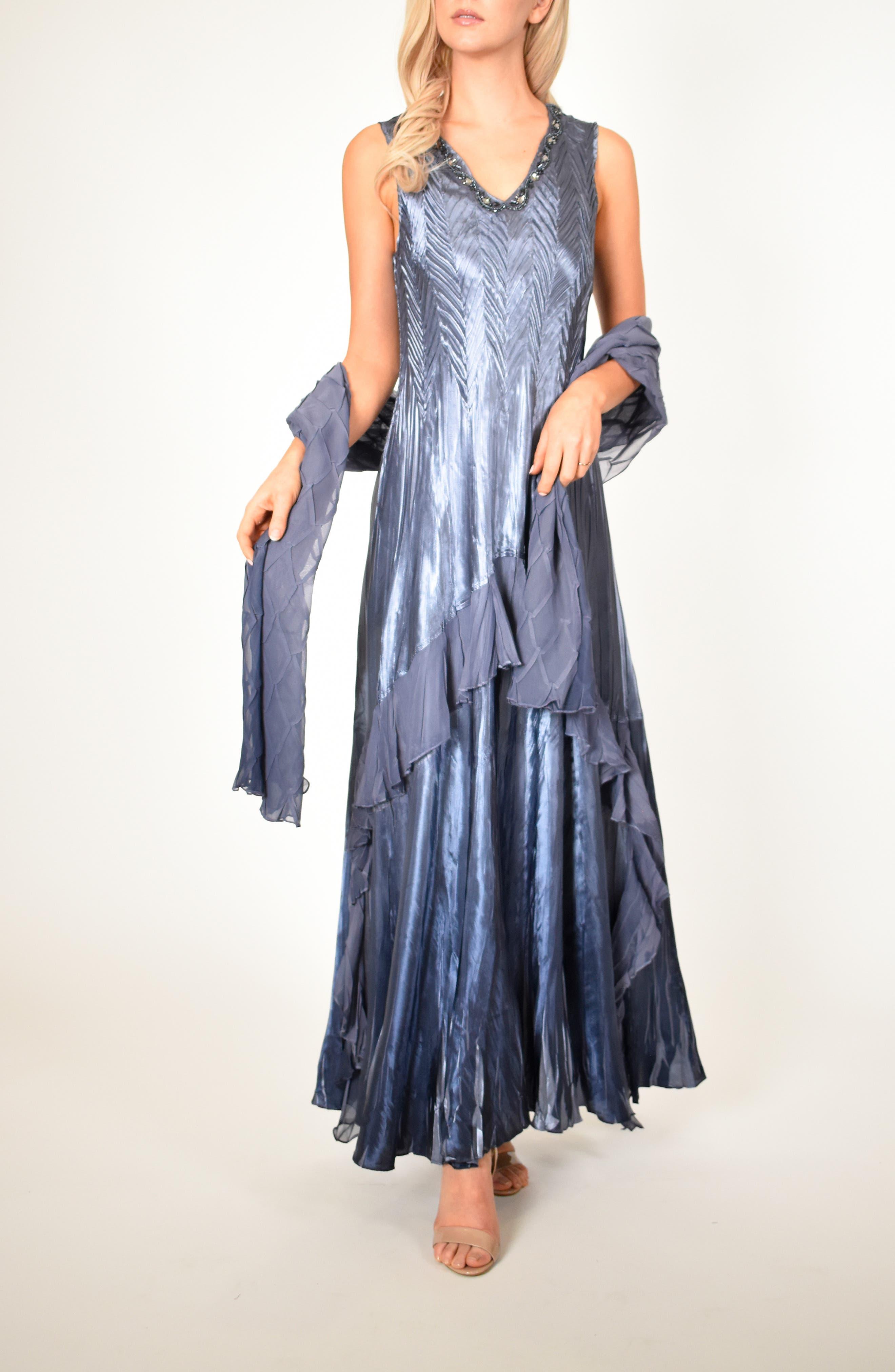 KOMAROV, Beaded V-Neck Charmeuse & Chiffon Evening Dress with Wrap, Main thumbnail 1, color, PURPLE SAGE BLUE OMBRE