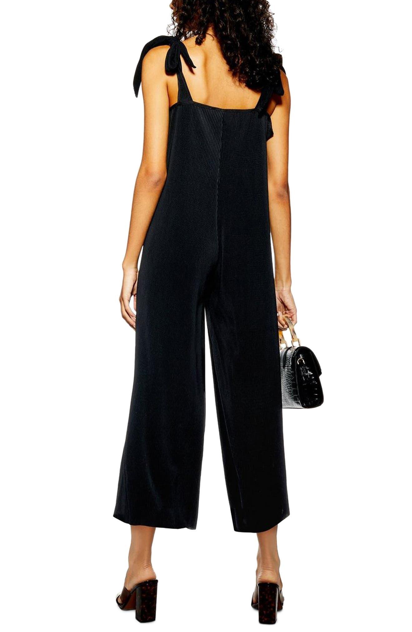 TOPSHOP, Tie Shoulder Crop Jumpsuit, Alternate thumbnail 2, color, BLACK