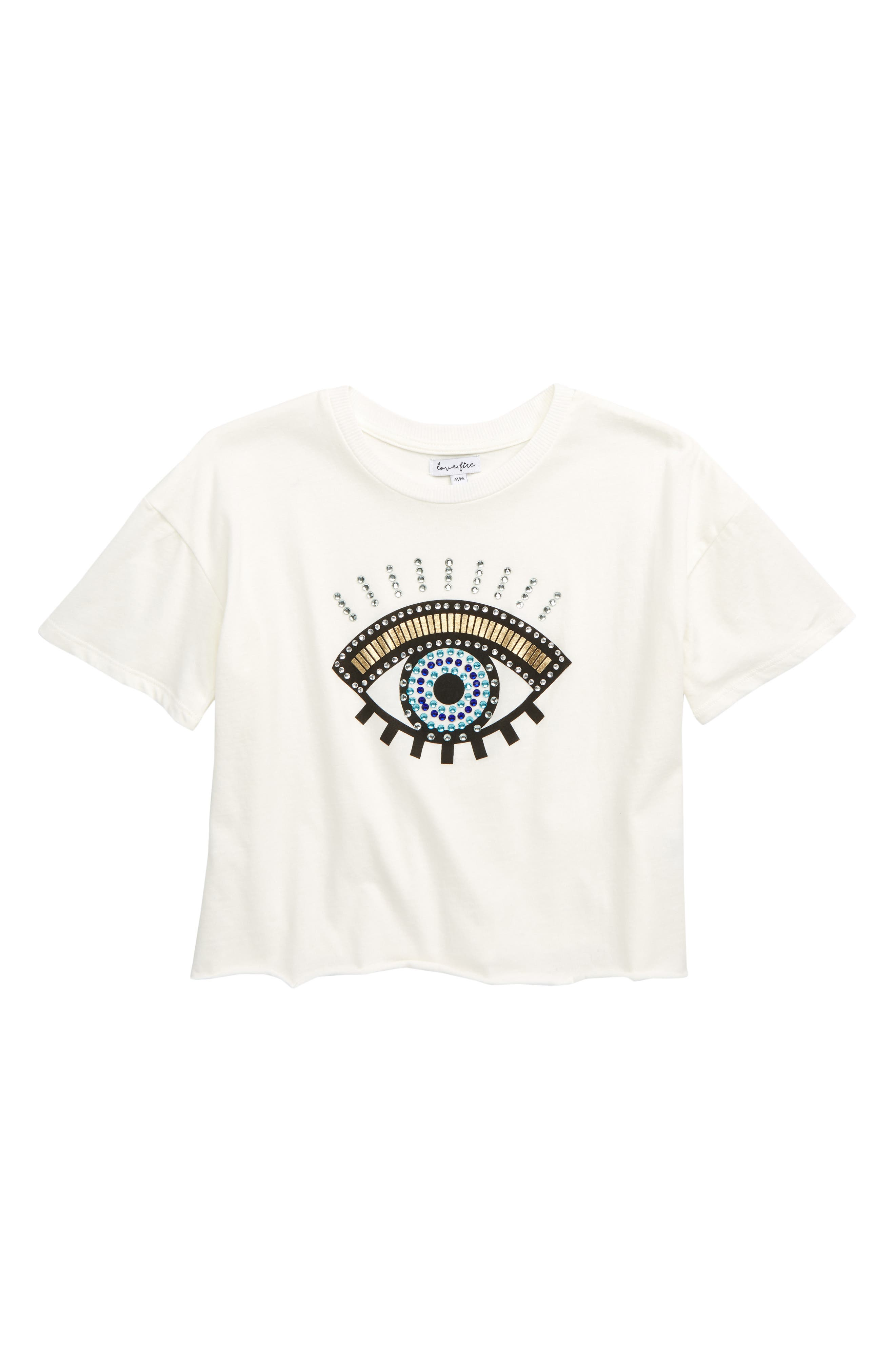 LOVE, FIRE Embellished Eye Tee, Main, color, WHITE