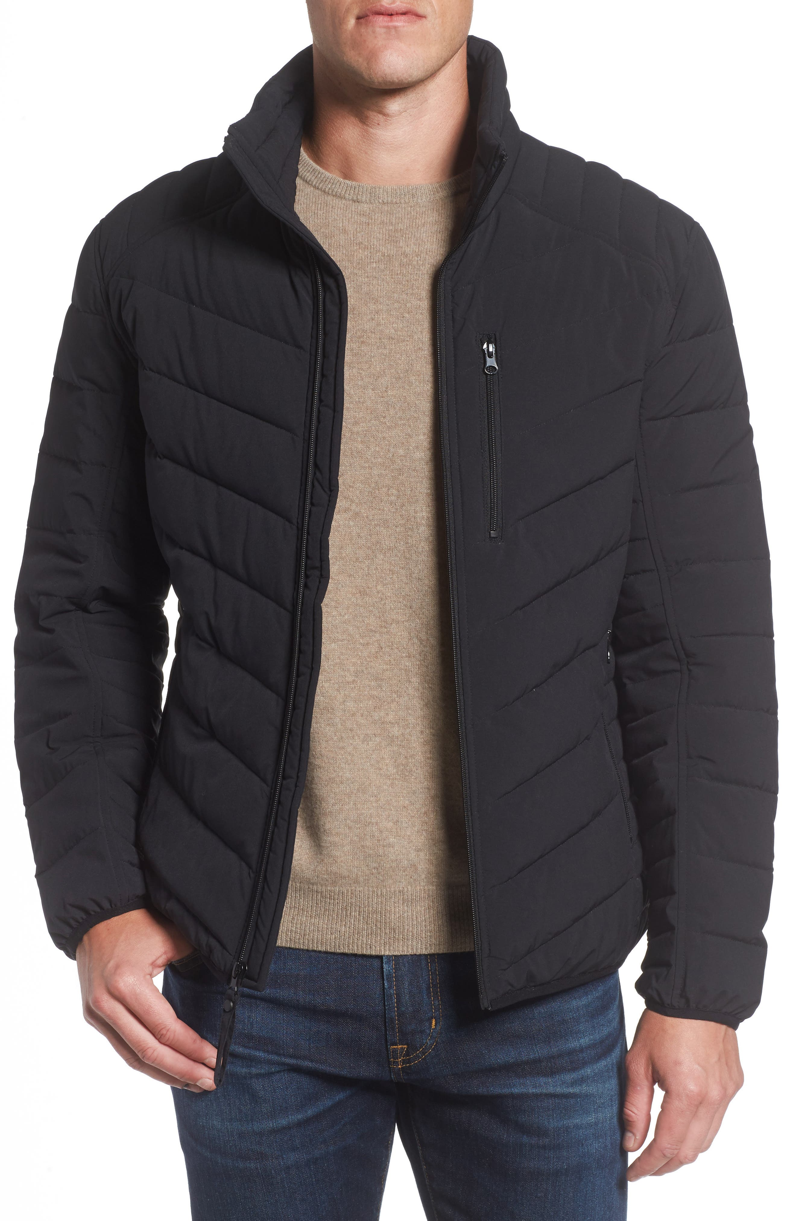 MARC NEW YORK, Bergen Quilted Down Jacket, Main thumbnail 1, color, BLACK