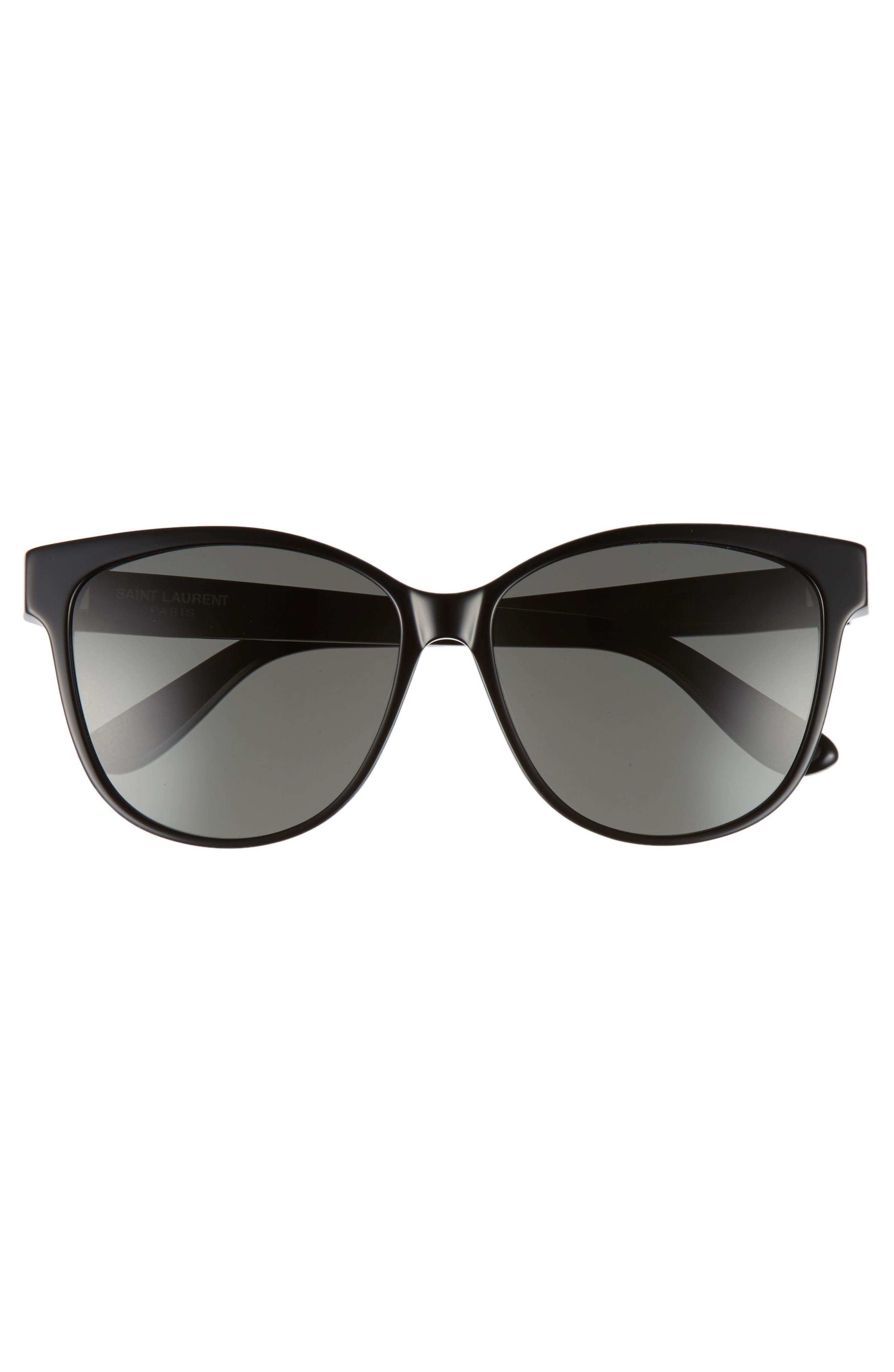 SAINT LAURENT, 58mm Cat Eye Sunglasses, Alternate thumbnail 3, color, BLACK