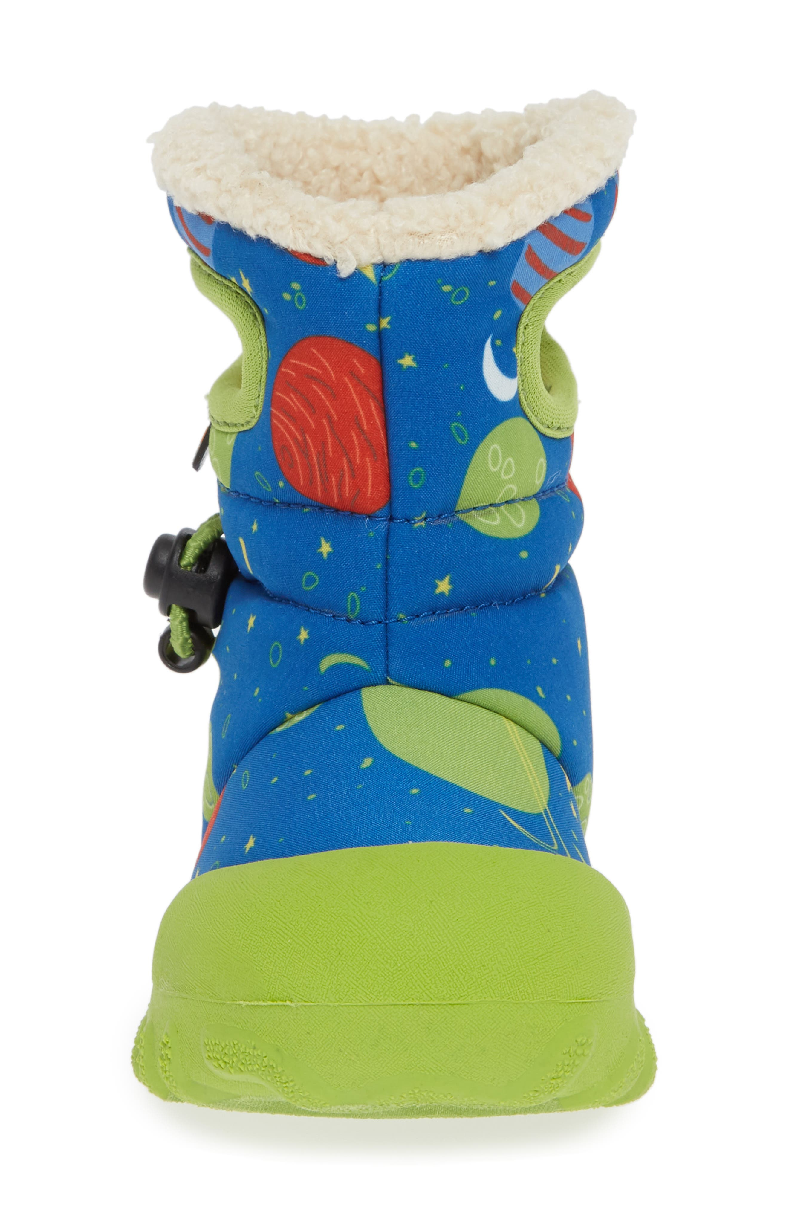 BOGS, B-MOC Space Waterproof Insulated Faux Fur Boot, Alternate thumbnail 4, color, BLUE MULTI