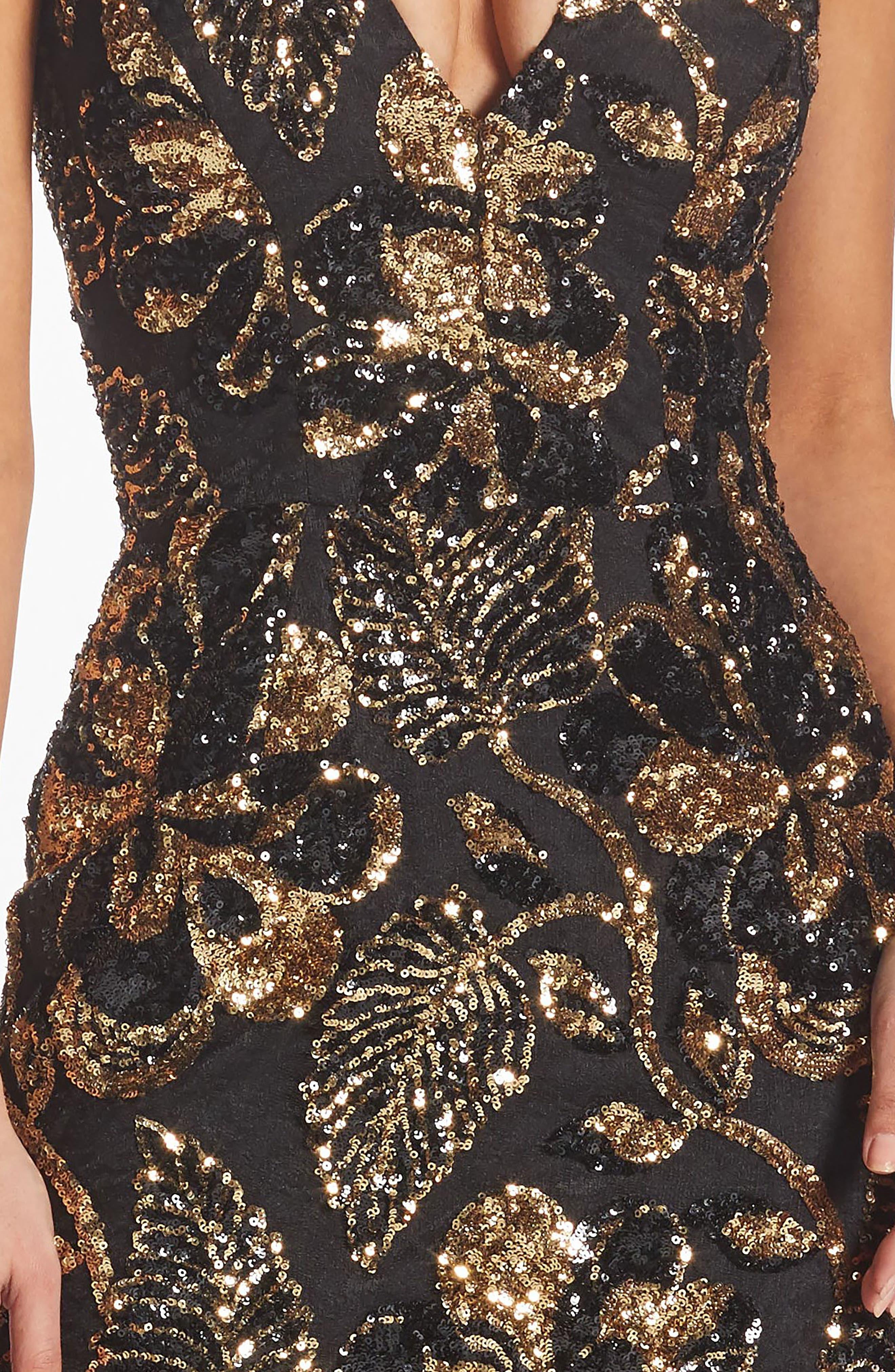 DRESS THE POPULATION, Margo Plunge Neck Sequin Dress, Alternate thumbnail 4, color, 715